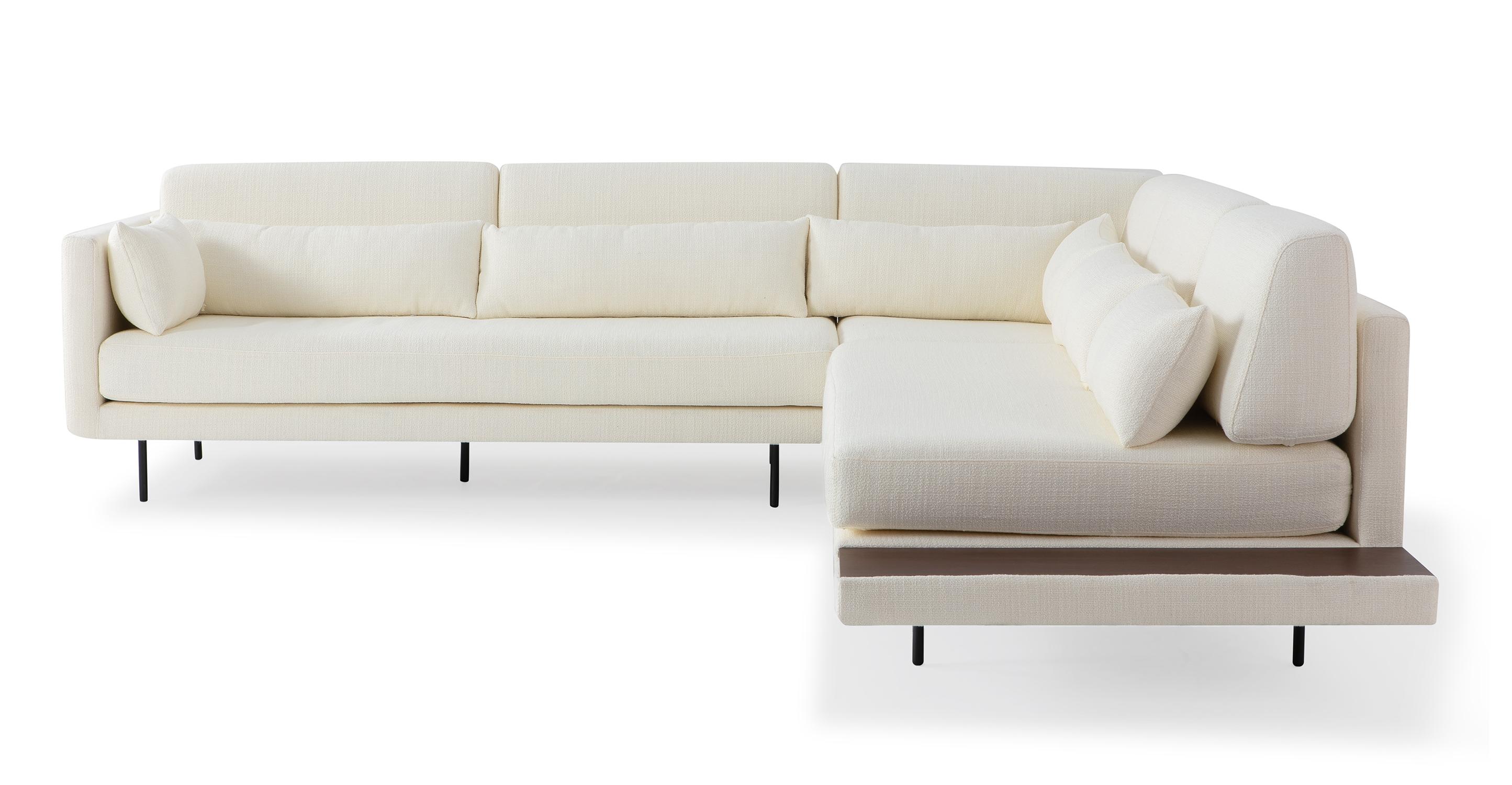"Davenport 110"" Fabric L-Corner Sofa Sectional, Jour Boucle"