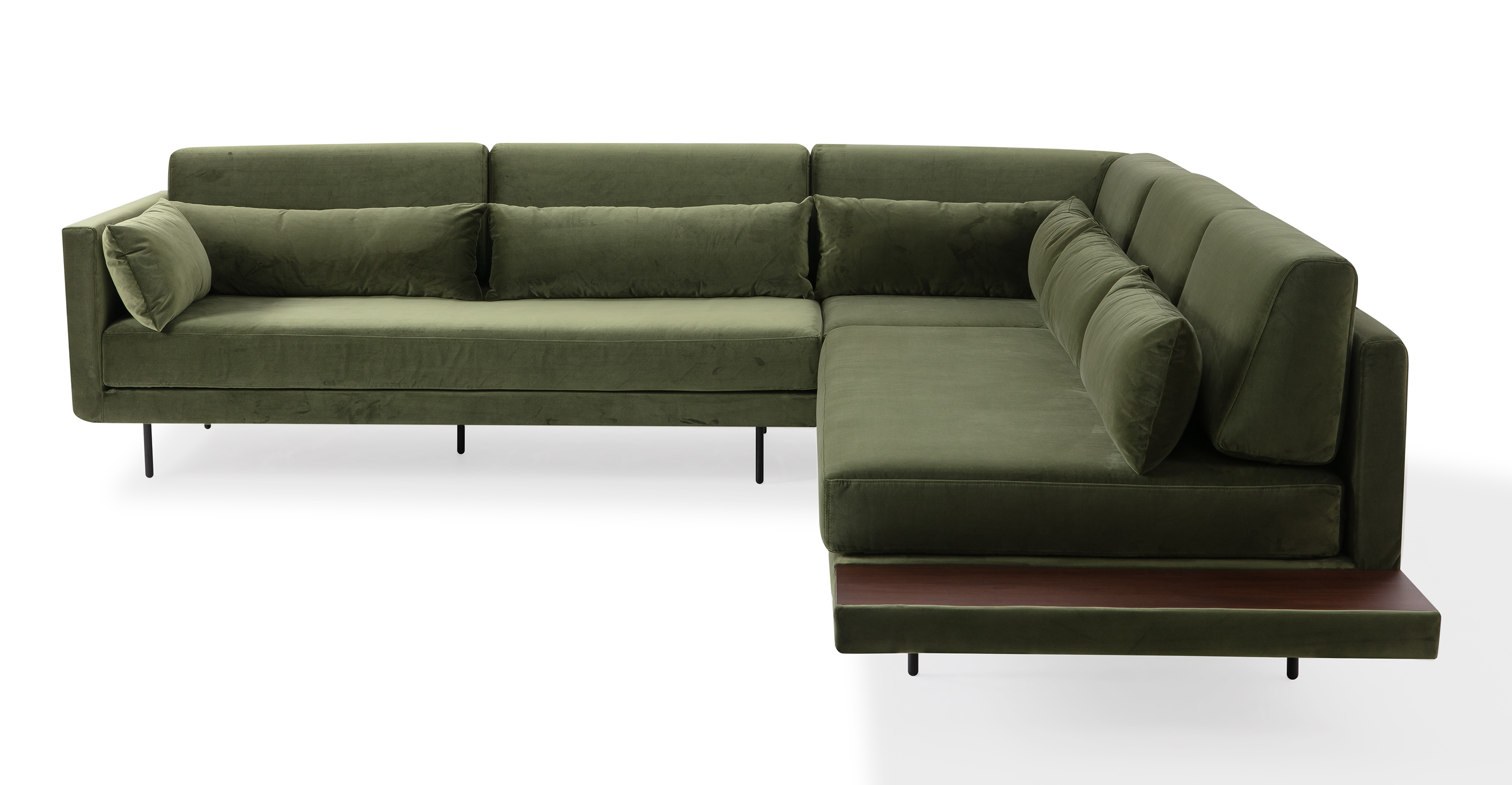 """Davenport 110"""" Fabric L-Corner Sofa Sectional, Fern Velvet"""