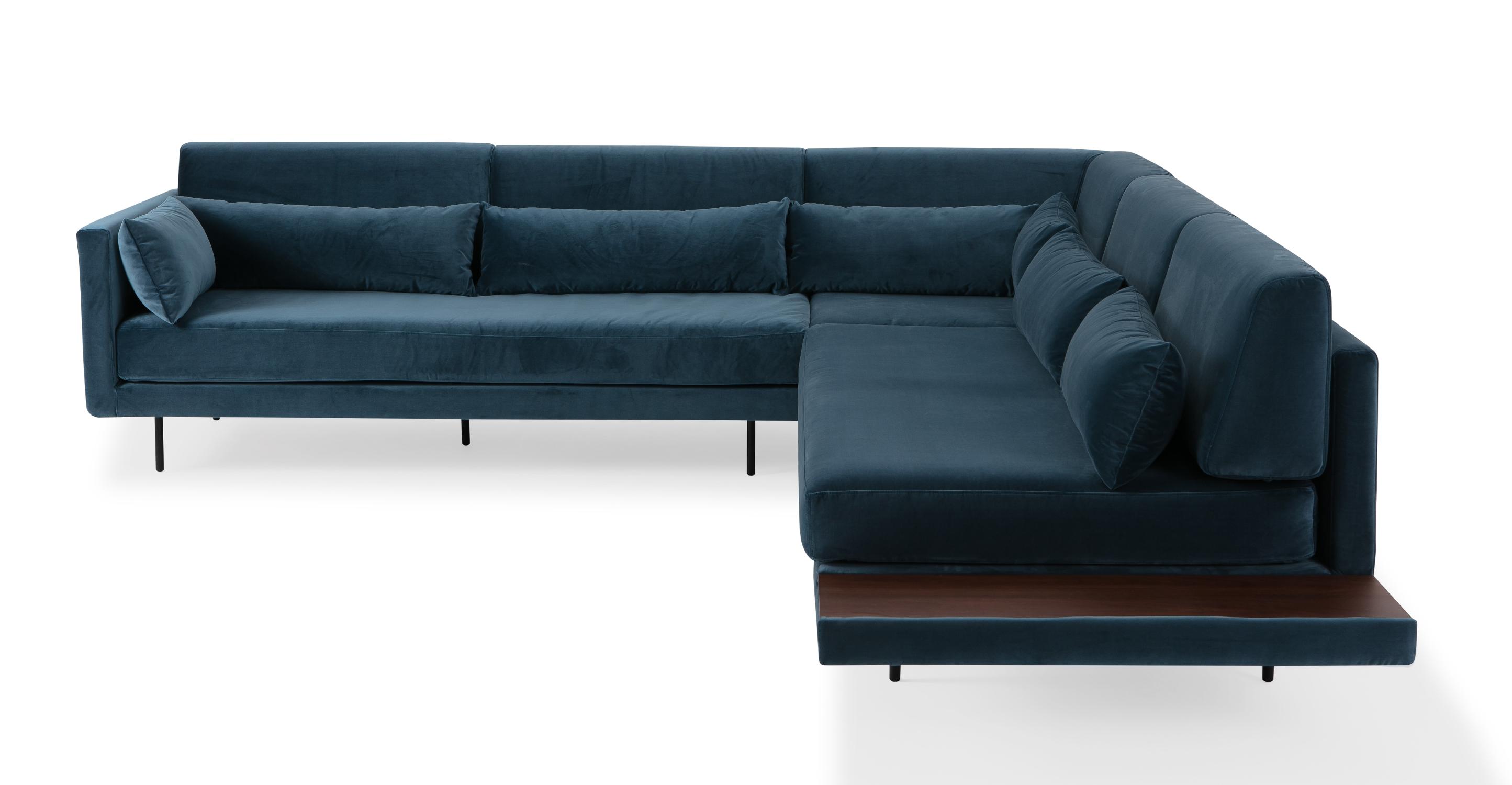 """Davenport 110"""" Fabric L-Corner Sofa Sectional, Petrol Velvet"""