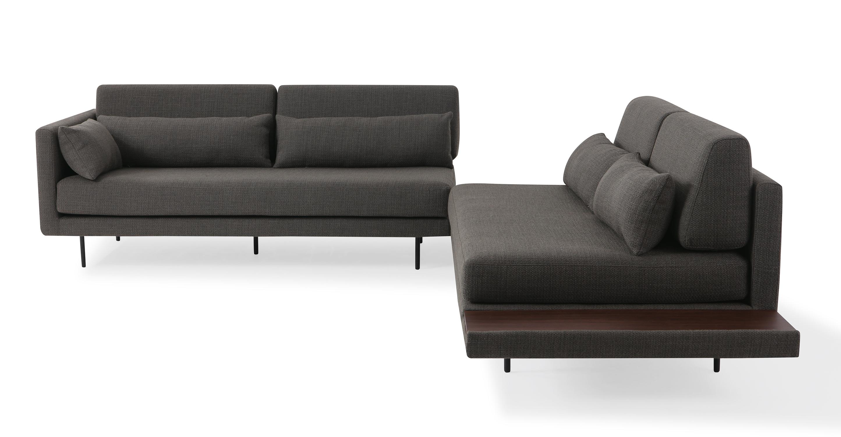 "Davenport 110"" Fabric L-Corner Table Sectional, Nuit Boucle"