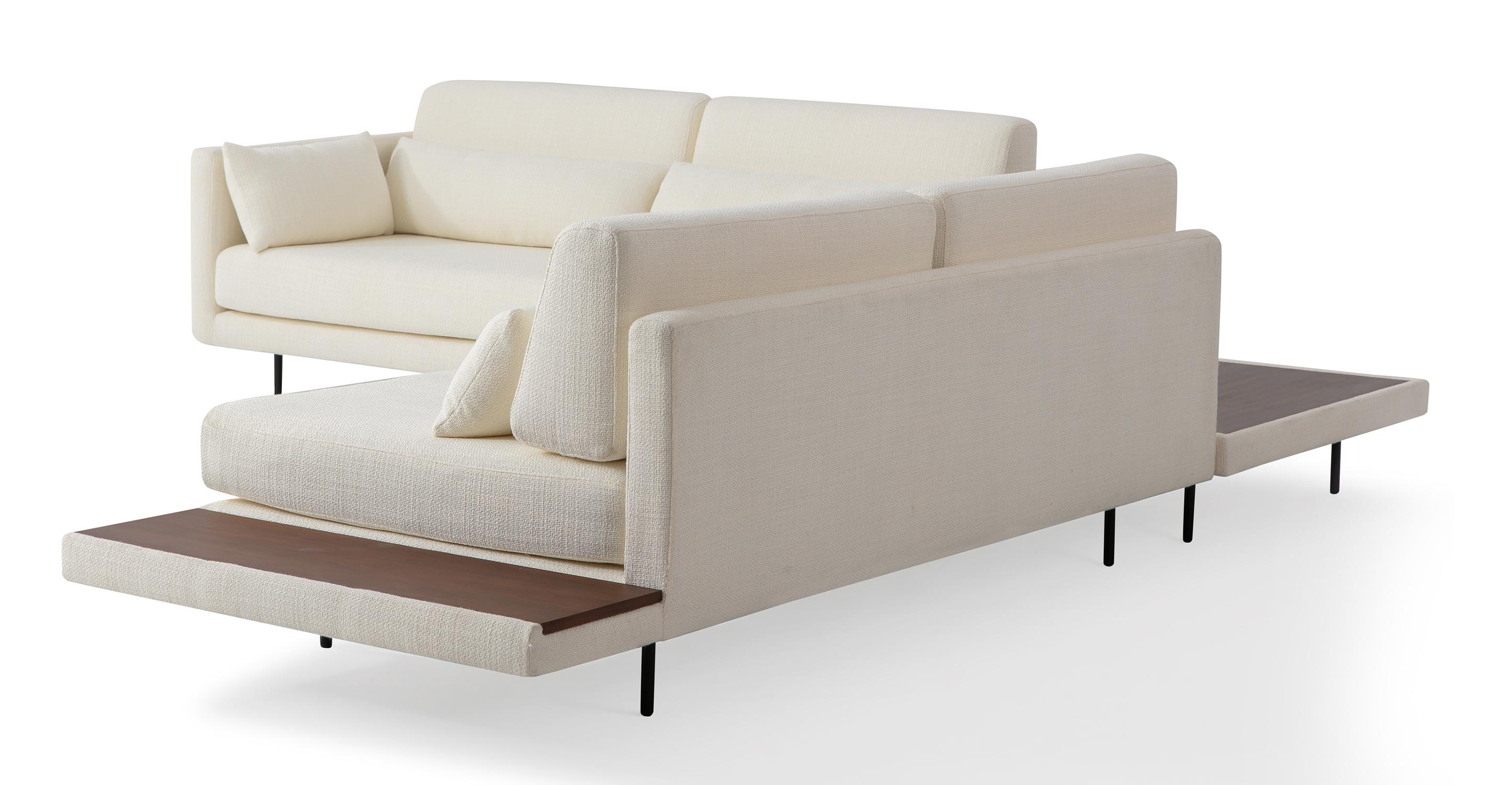 "Davenport 110"" Fabric L-Corner Table Sectional, Jour Boucle"