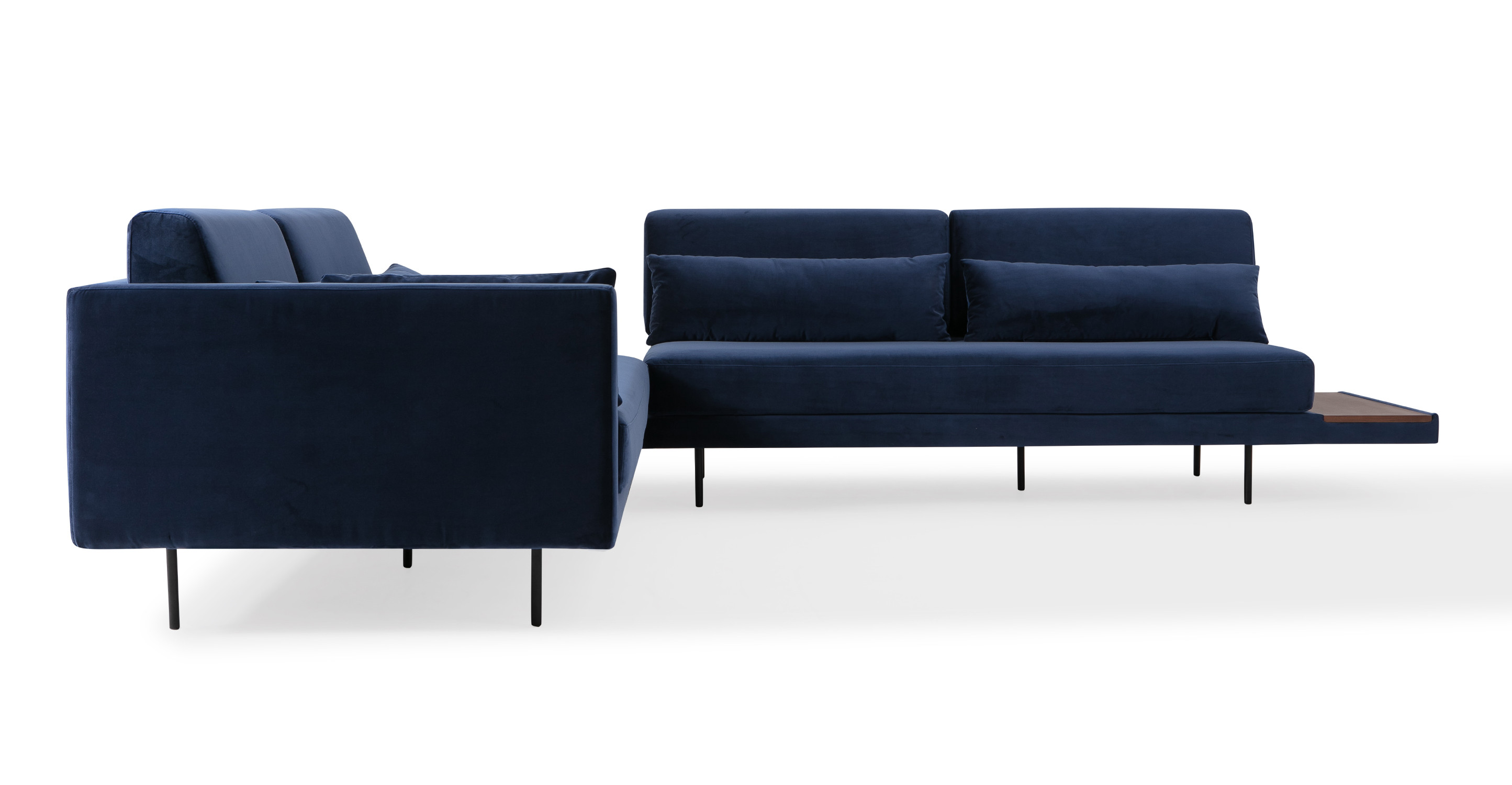 """Davenport 110"""" Fabric L-Corner Table Sectional, Oxford Velvet"""
