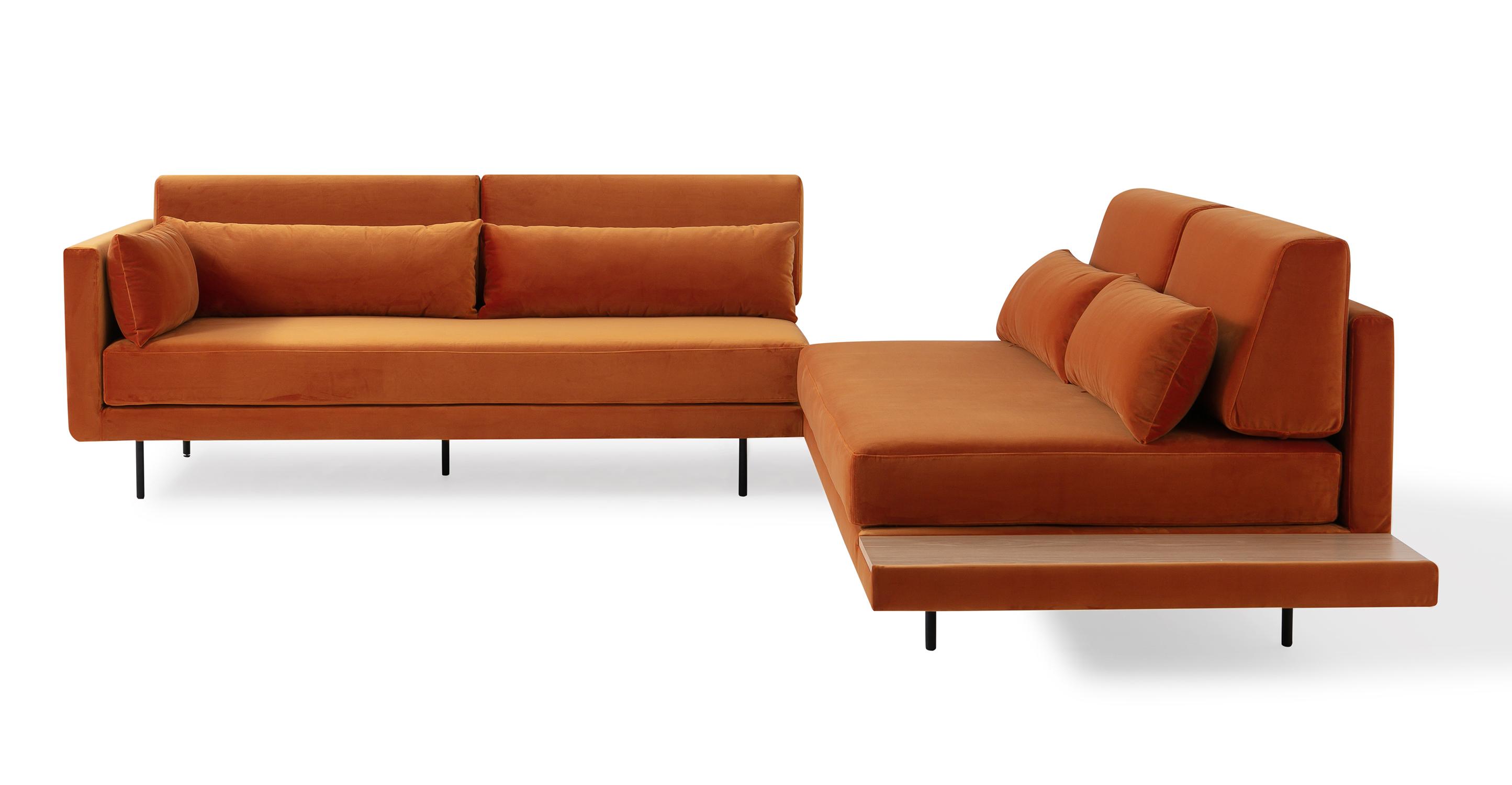 """Davenport 110"""" Fabric L-Corner Table Sectional, Monarch Velvet"""