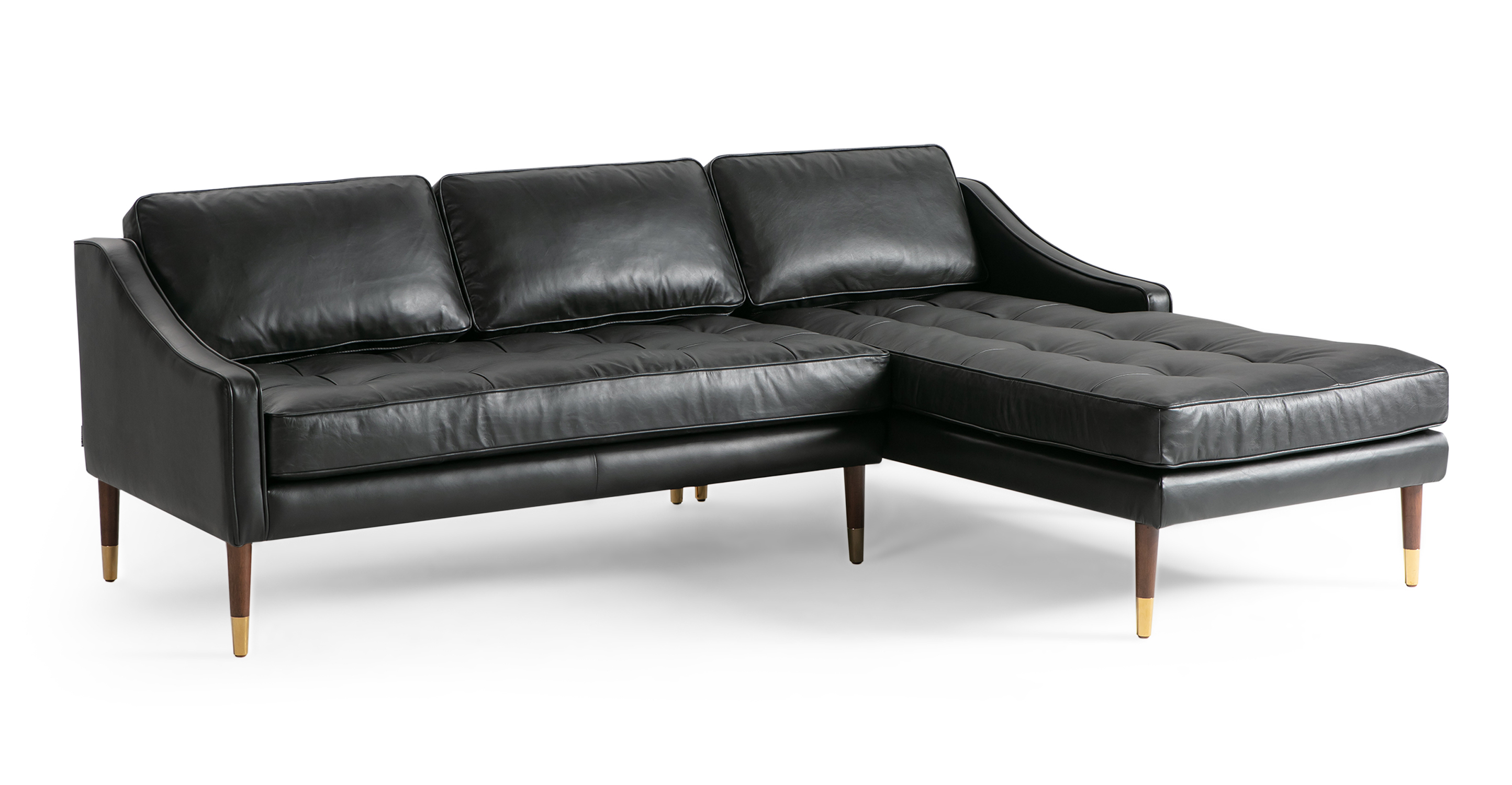 "Brando 83"" Leather Sofa Sectional Right, Napoli Black"