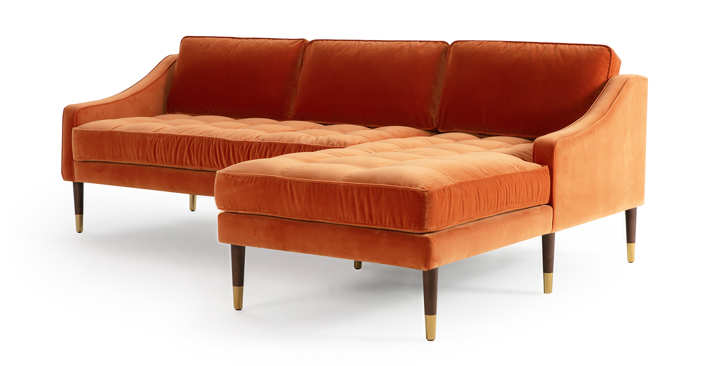 """Brando 83"""" Fabric Sofa Sectional Right, Romance Velvet"""