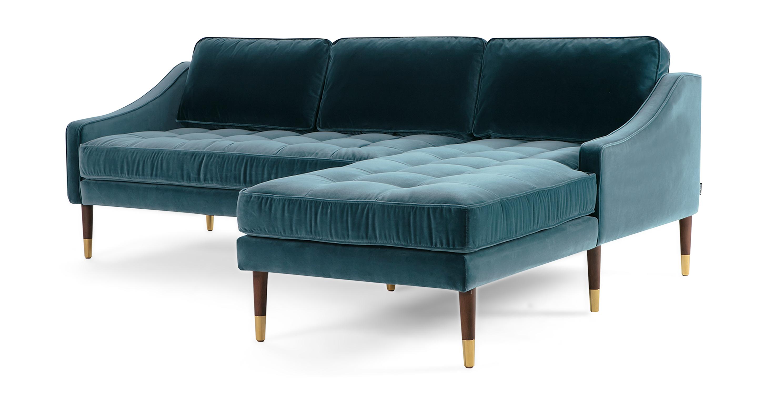 """Brando 83"""" Fabric Sofa Sectional Right, Tranquil Velvet"""