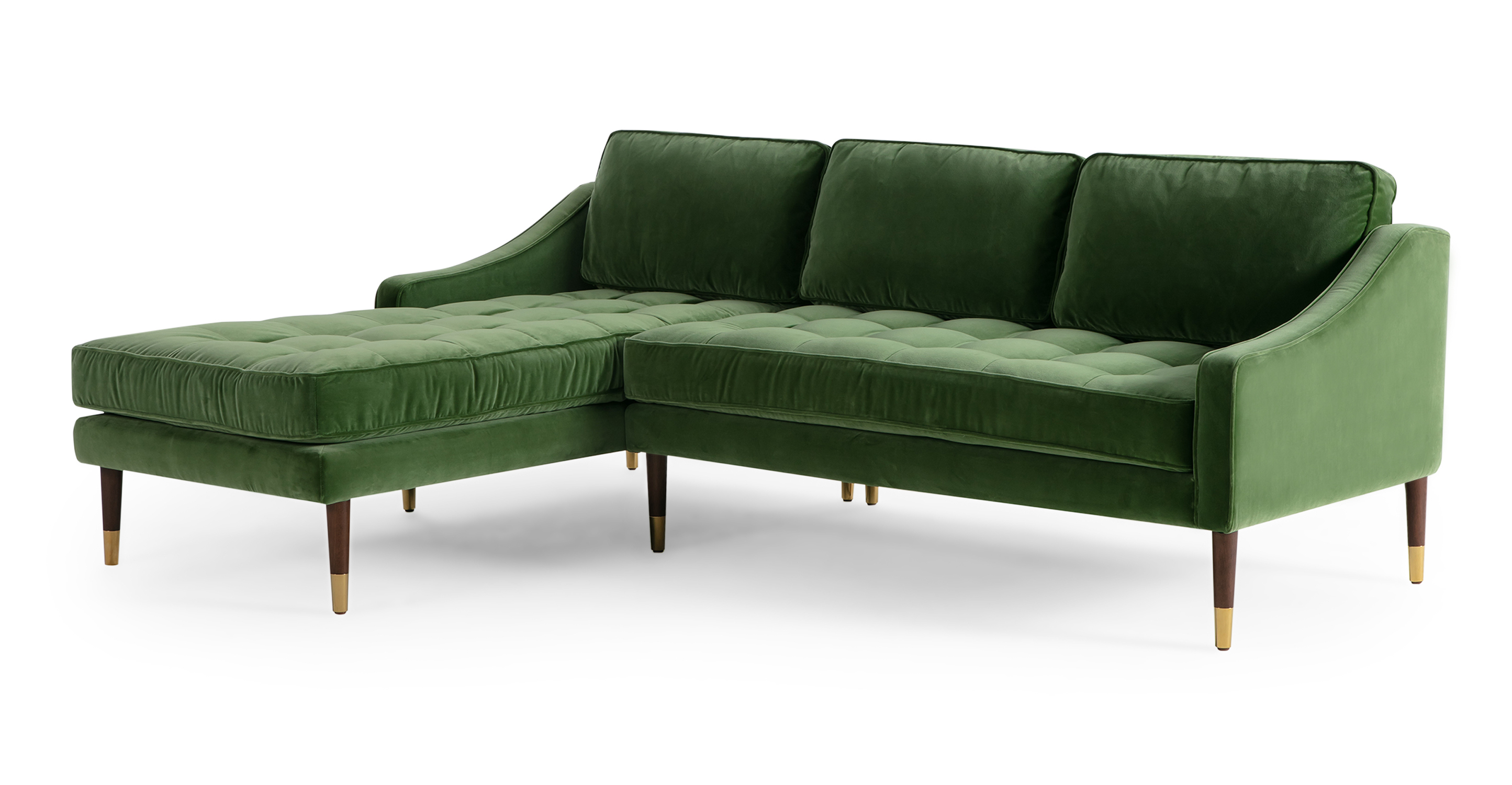 "Brando 83"" Fabric Sofa Sectional Left, Grass Velvet"