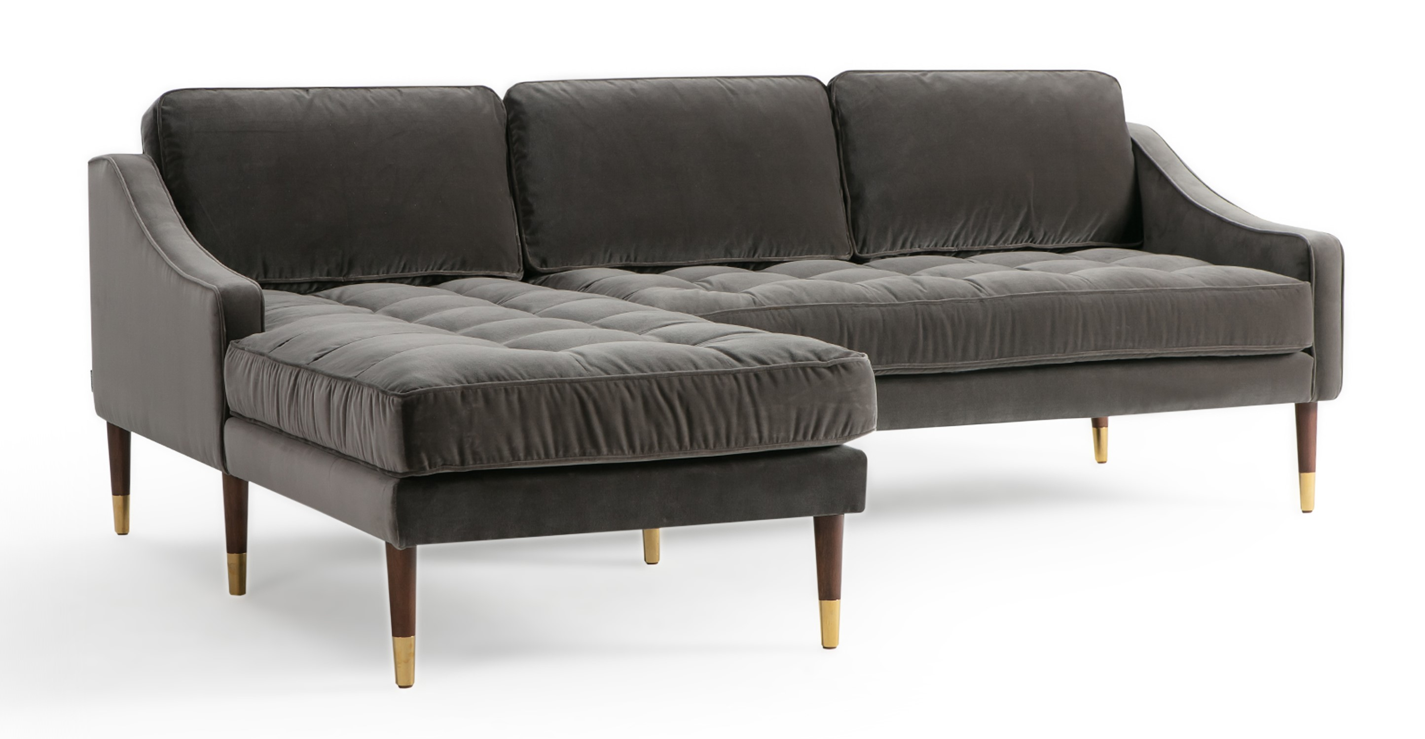 """Brando 83"""" Fabric Sofa Sectional Left, Obsidian Velvet"""