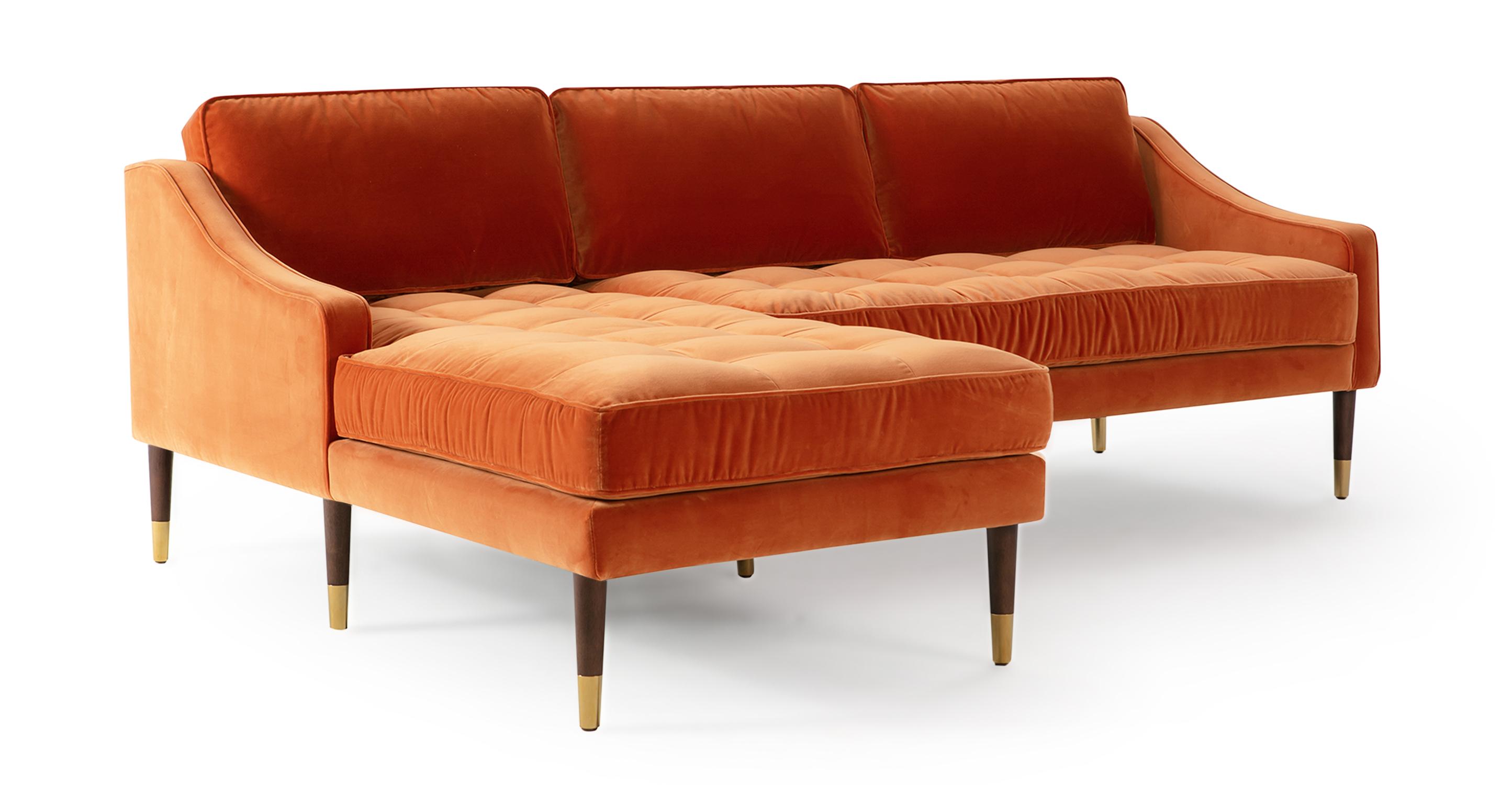 """Brando 83"""" Fabric Sofa Sectional Left, Romance Velvet"""