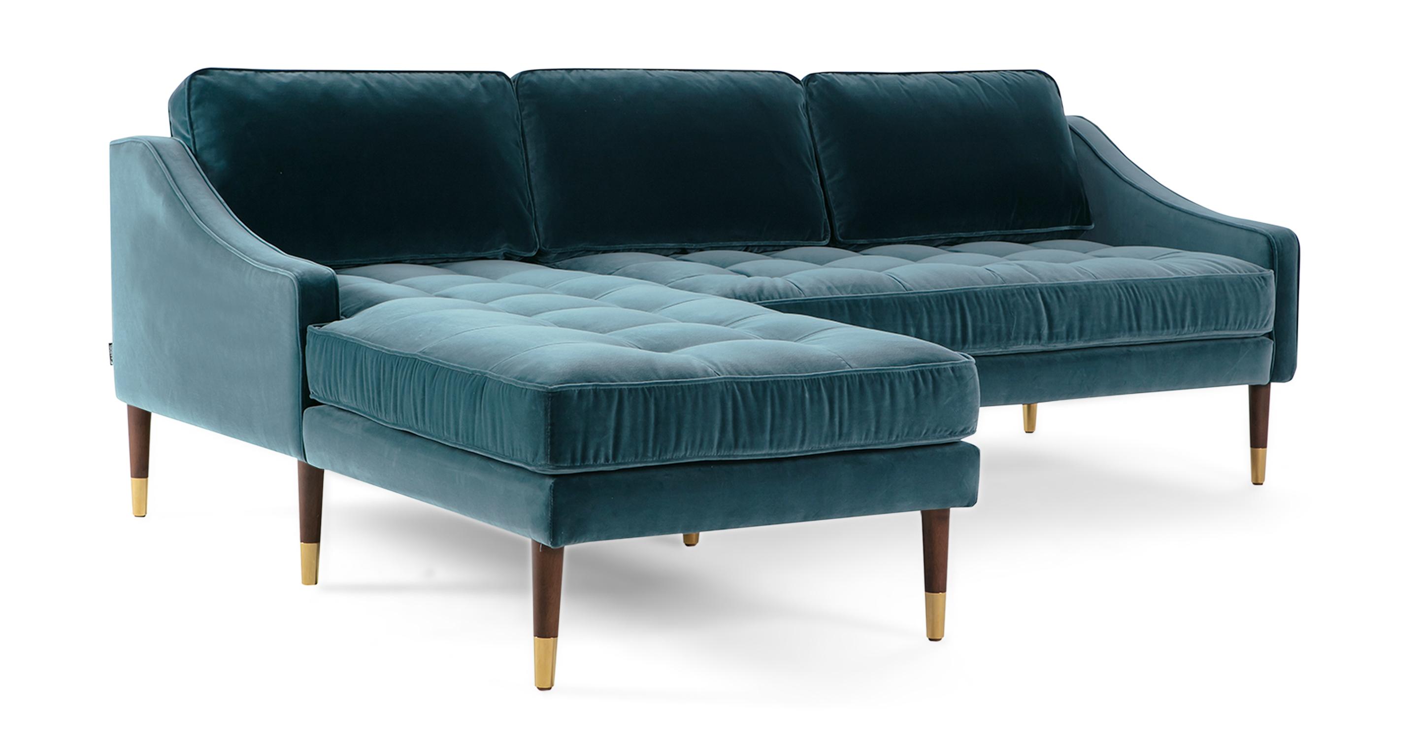 """Brando 83"""" Fabric Sofa Sectional Left, Tranquil Velvet"""