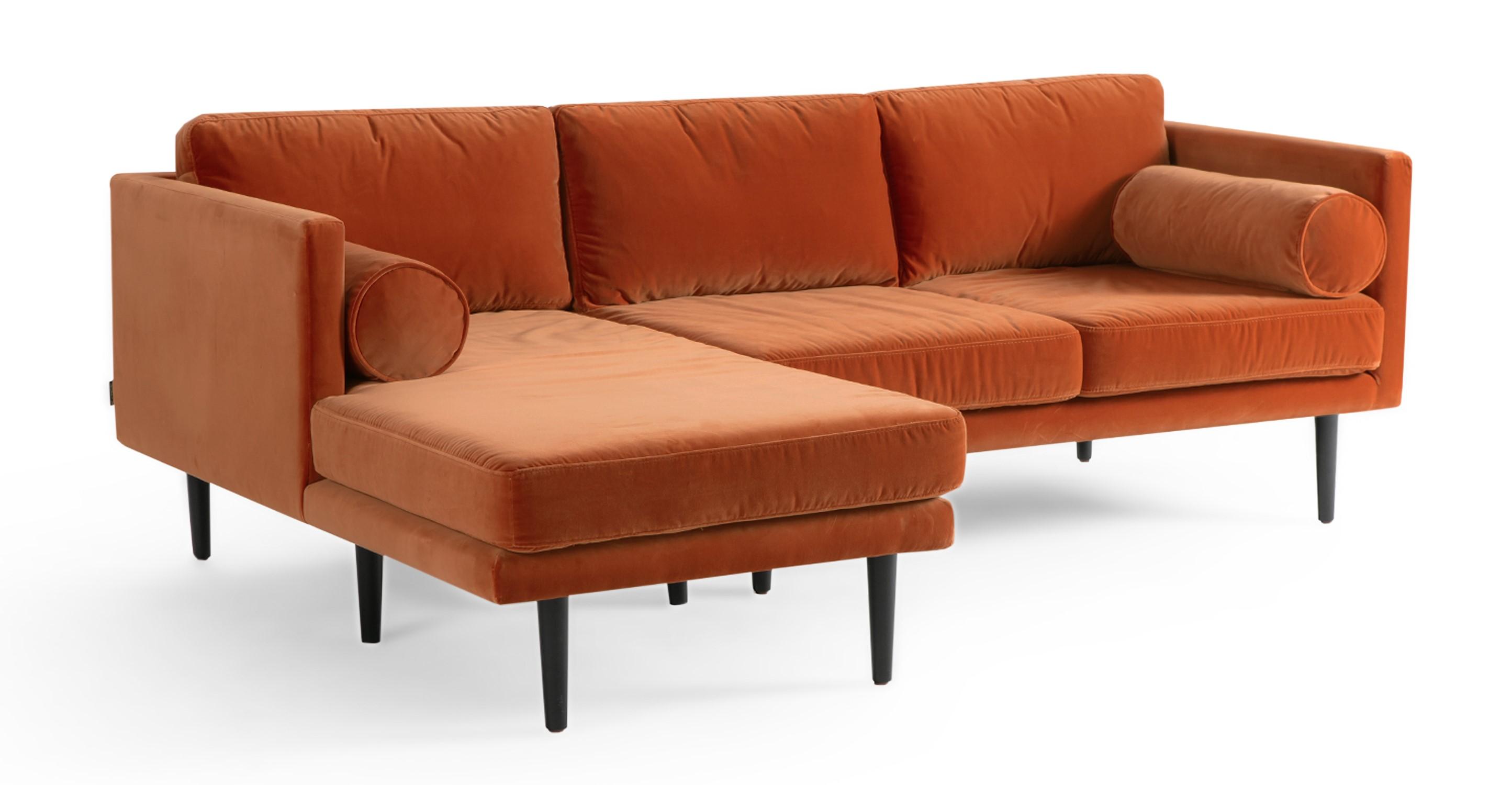 """Spectre 81"""" Fabric Sofa Sectional Left, Romance Velvet"""