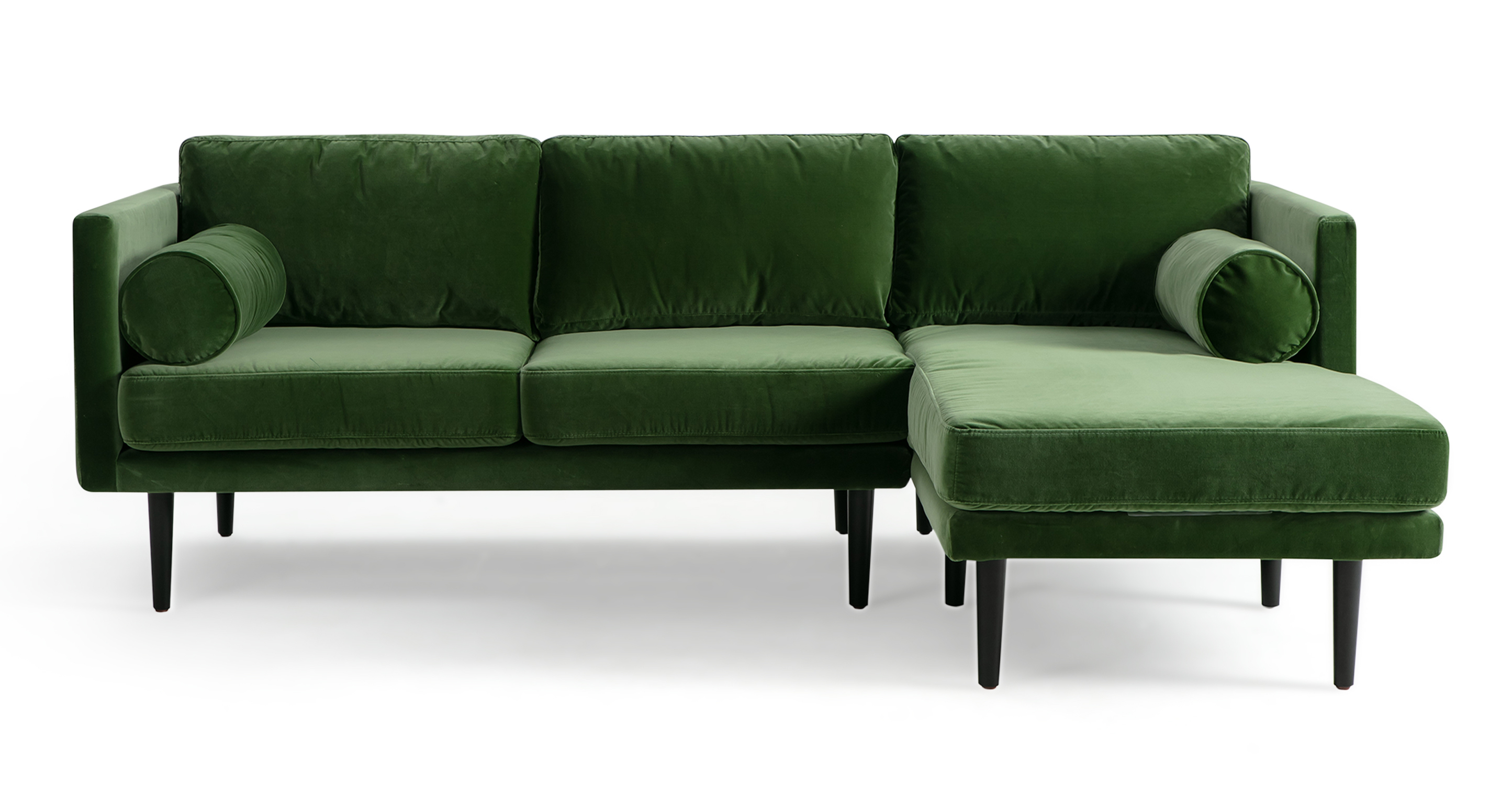 "Spectre 81"" Fabric Sofa Sectional Right, Grass Velvet"