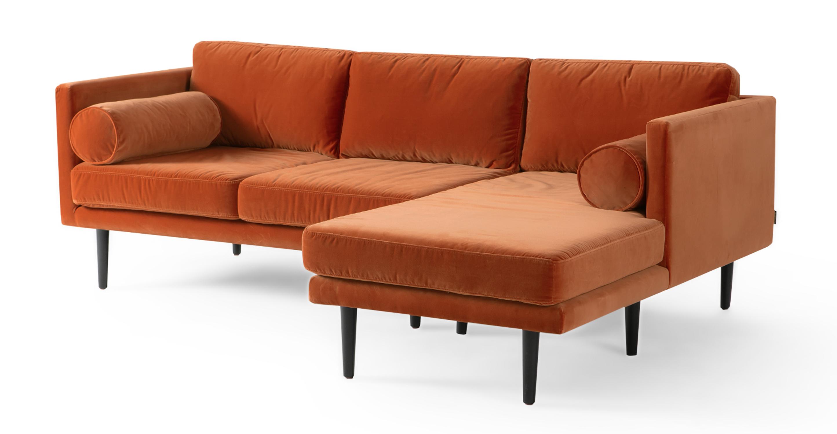 """Spectre 81"""" Fabric Sofa Sectional Right, Romance Velvet"""