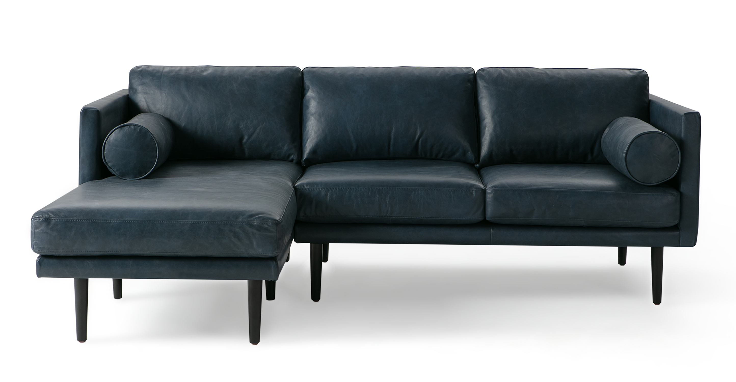 """Spectre 81"""" Leather Sofa Sectional Left, Napoli Blue"""
