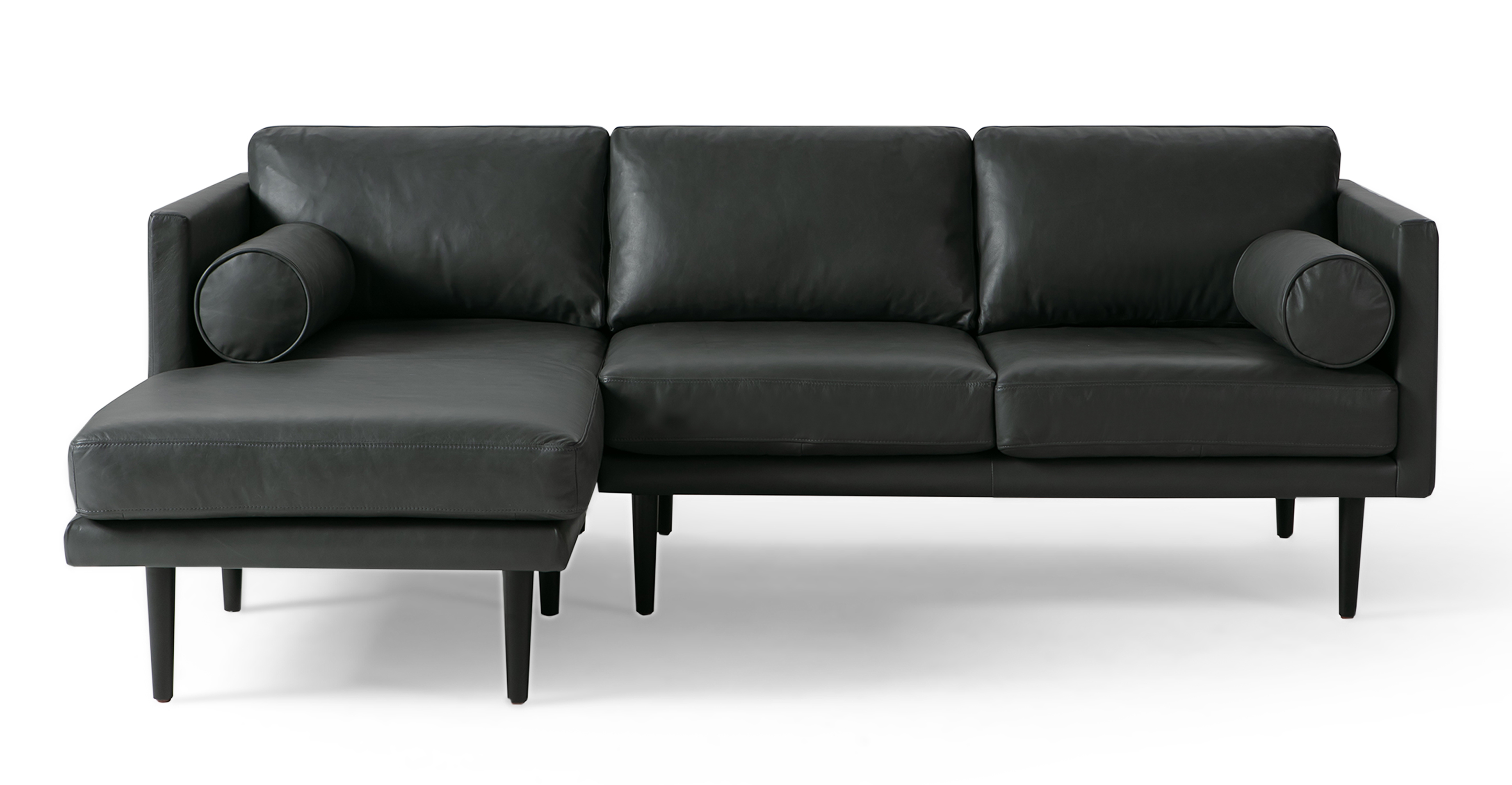 """Spectre 81"""" Leather Sofa Sectional Left, Napoli Grey"""