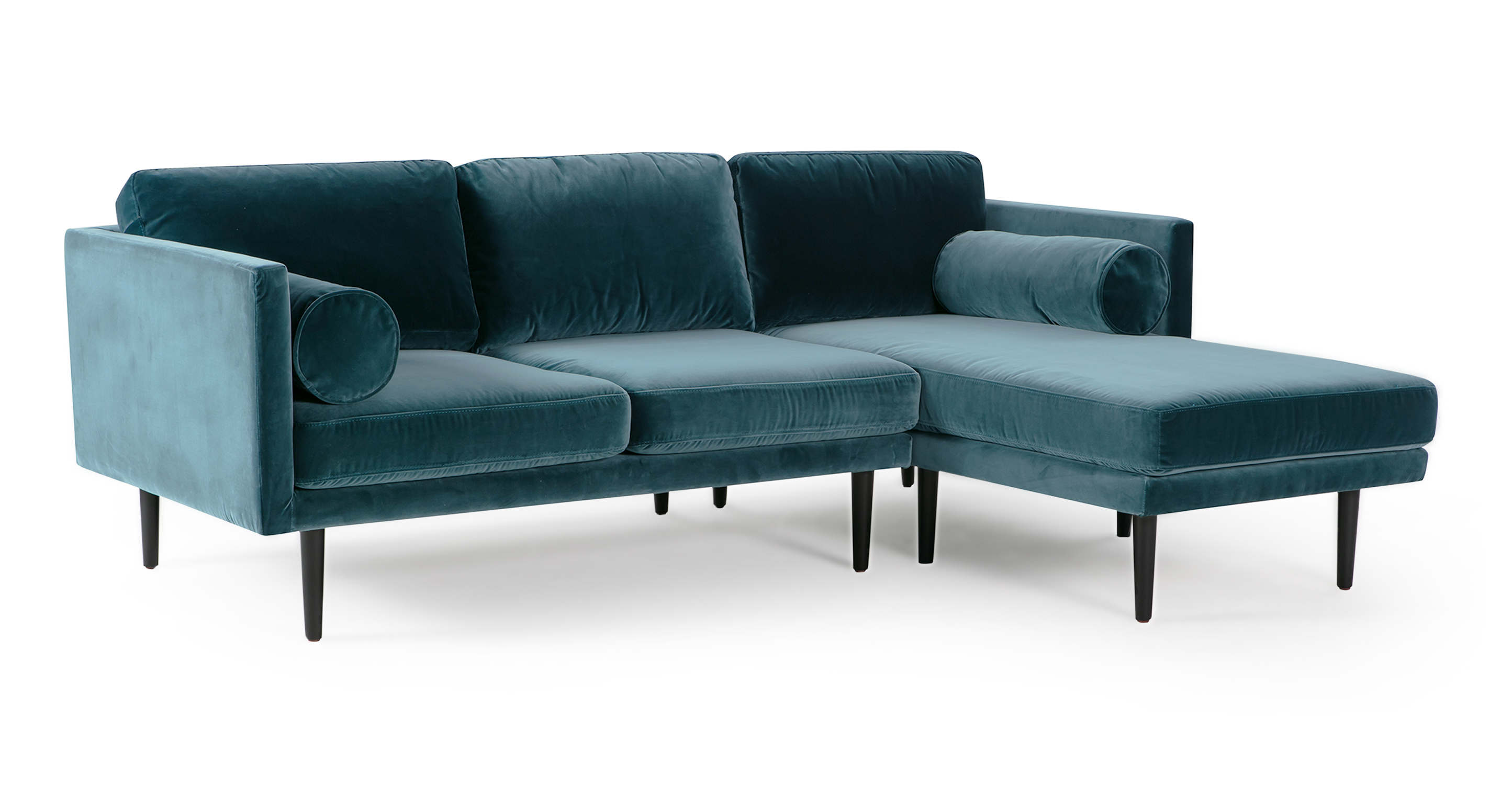 "Spectre 81"" Fabric Sofa Sectional Right, Tranquil Velvet"
