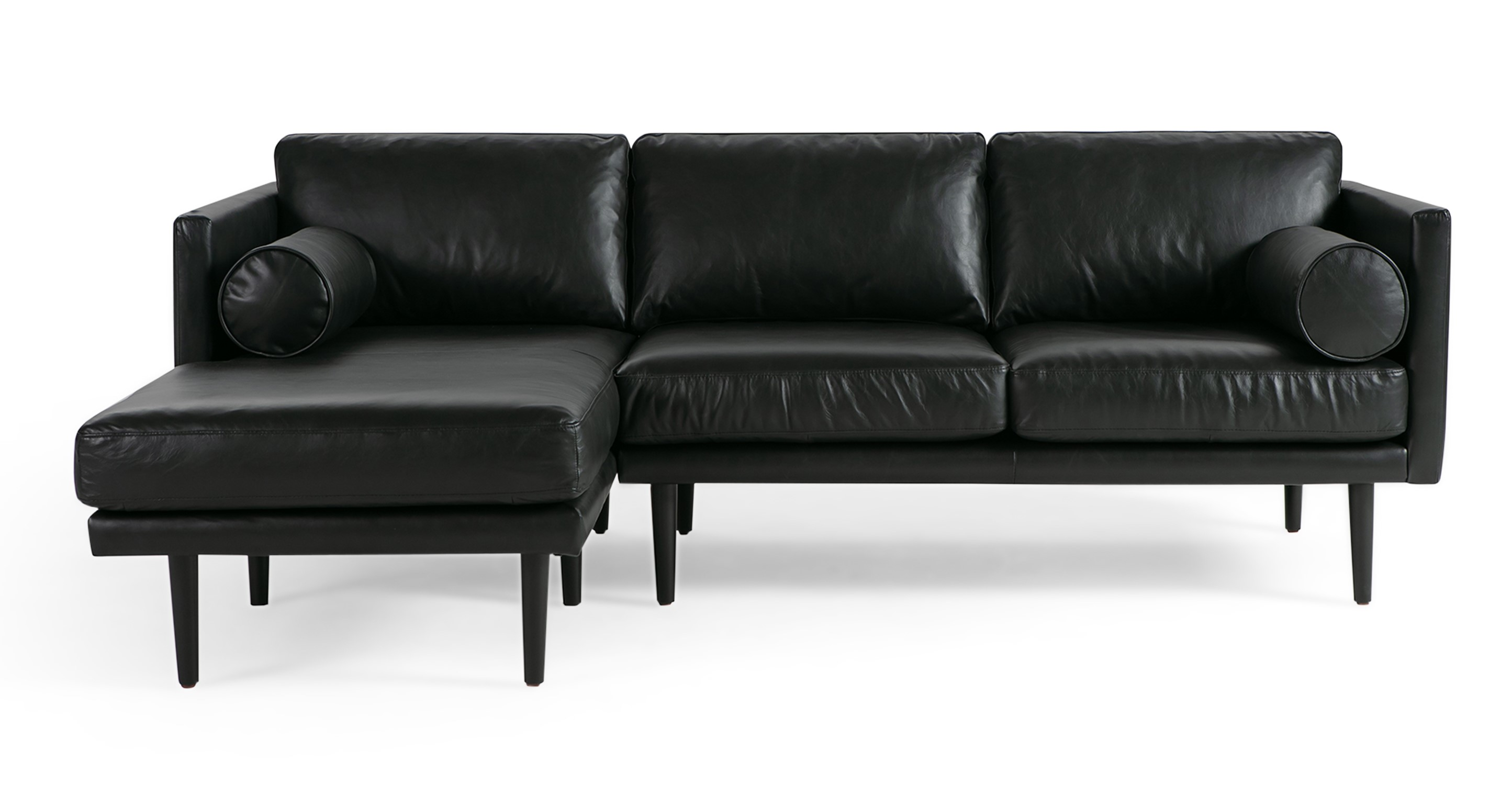 "Spectre 81"" Leather Sofa Sectional Left, Napoli Black"