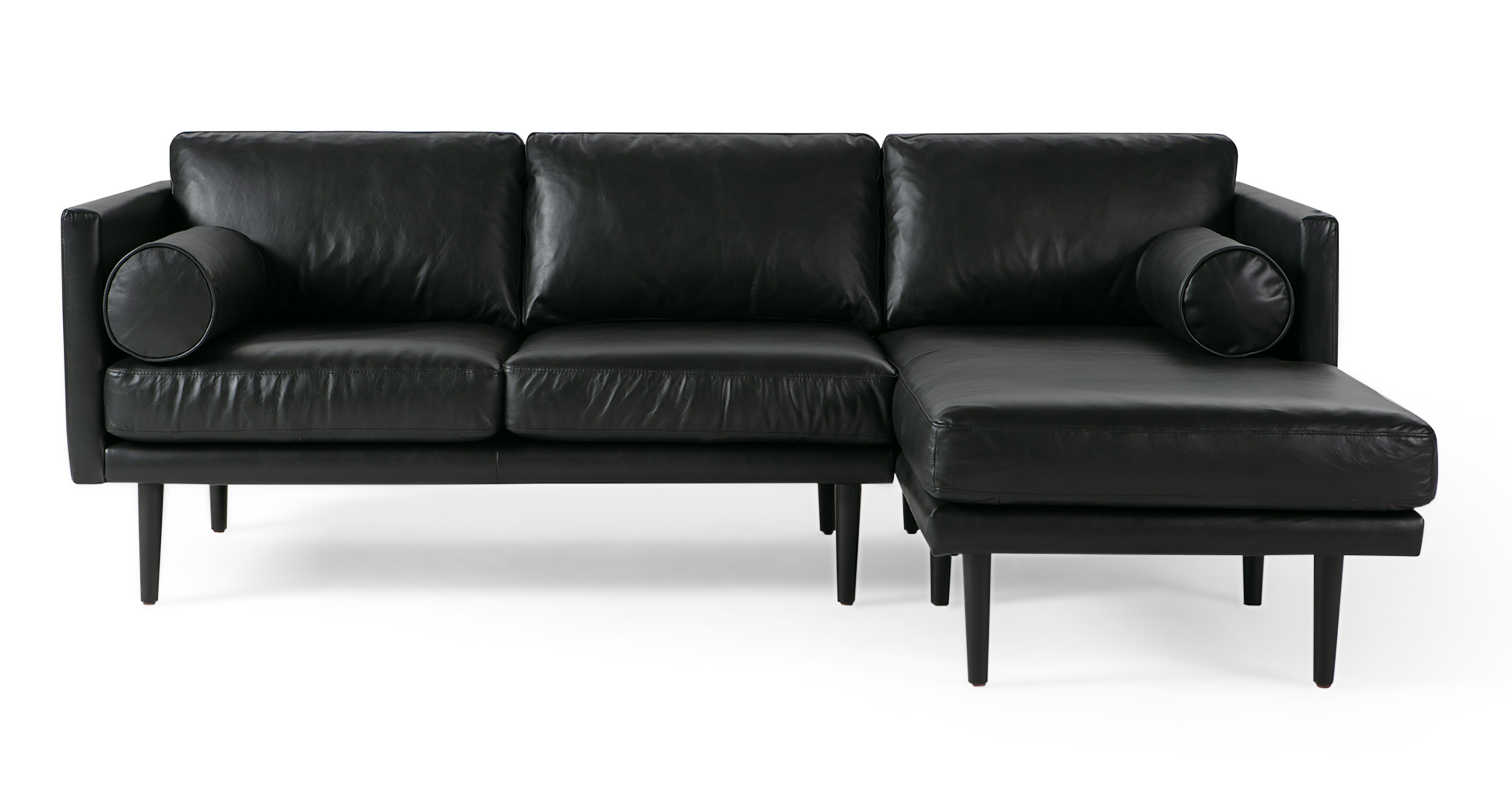 "Spectre 81"" Leather Sofa Sectional Right, Napoli Black"