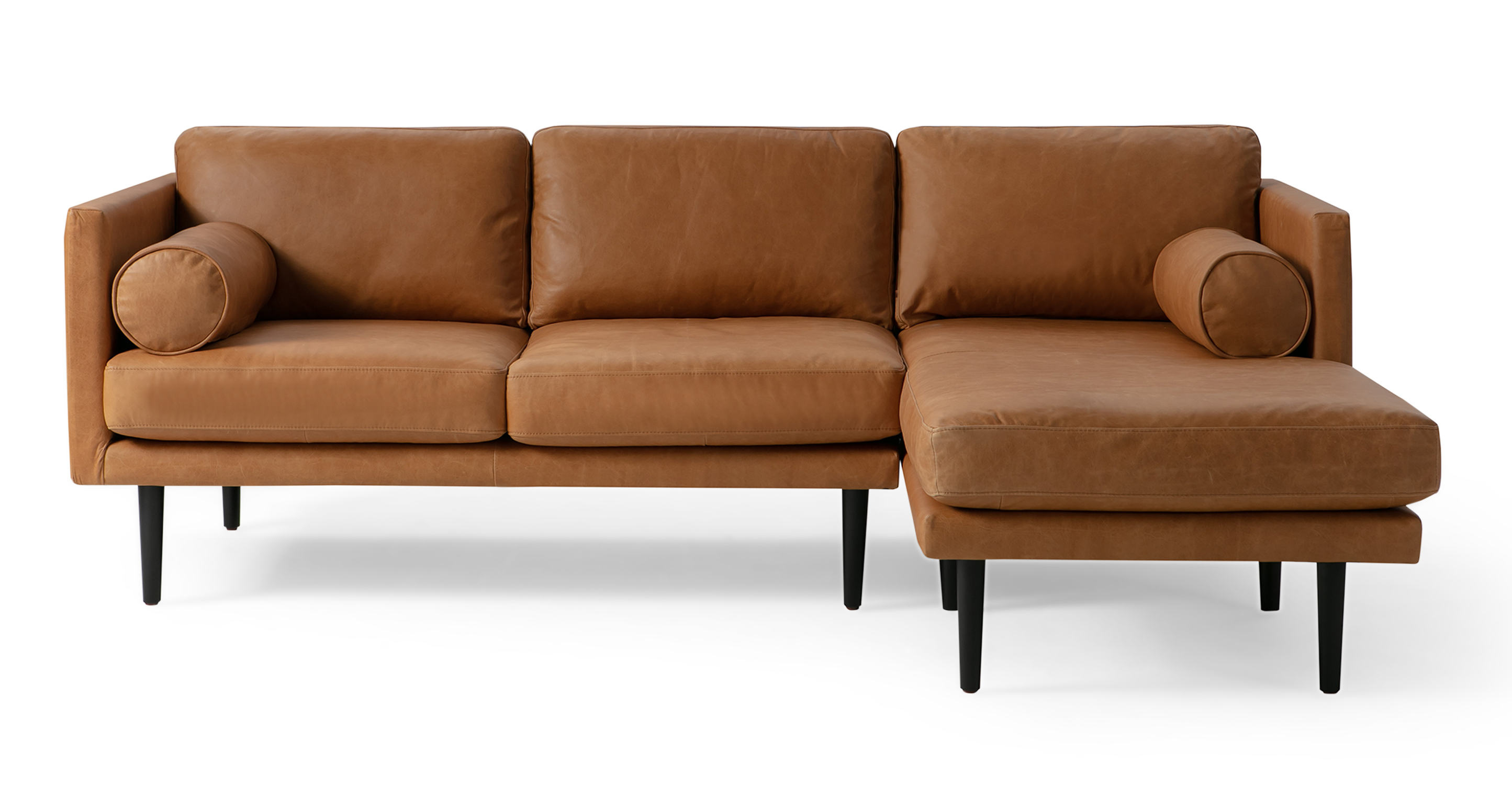 """Spectre 81"""" Leather Sofa Sectional Right, Milano Russet"""