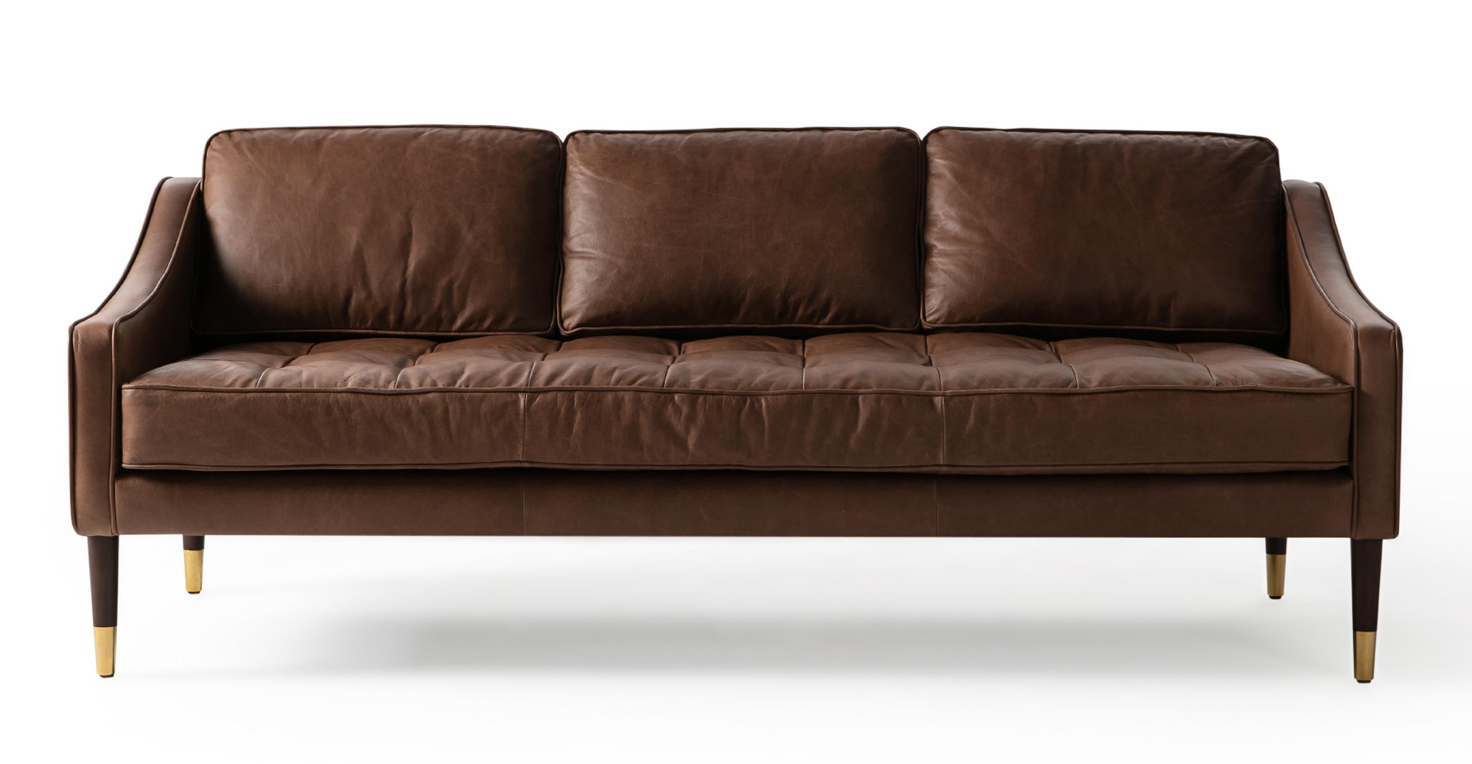 "Brando 74"" Leather Sofa, Milano Mocha"