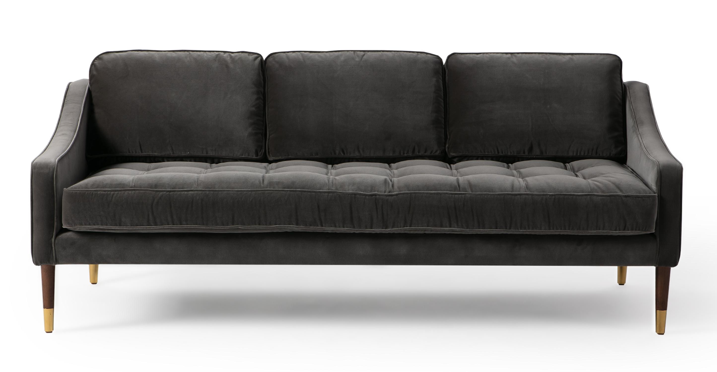 """Brando 74"""" Fabric Sofa, Obsidian Velvet"""