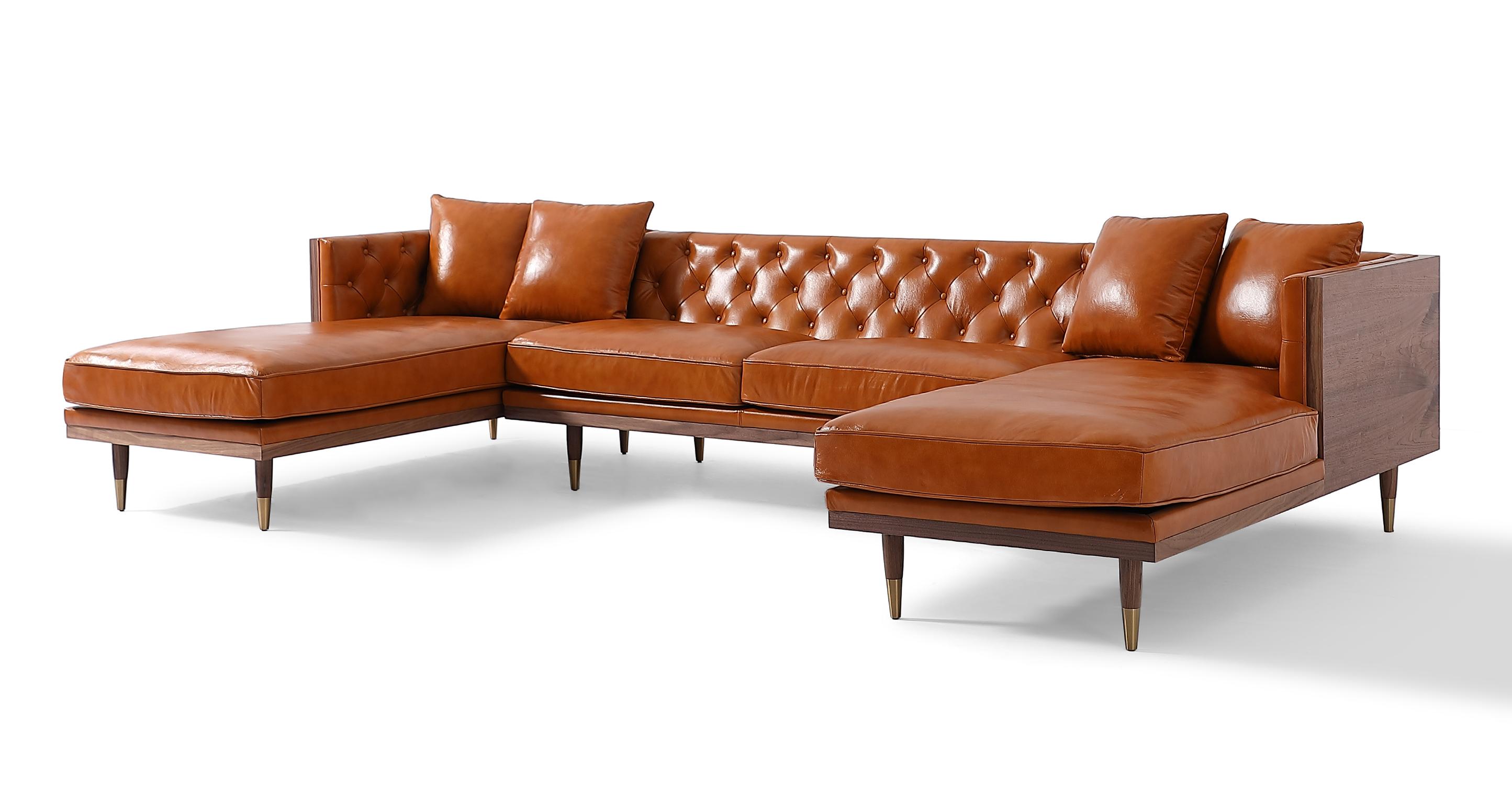 """Woodrow Neo 126"""" Leather Sofa U-Sectional, Walnut/Tan Aniline"""