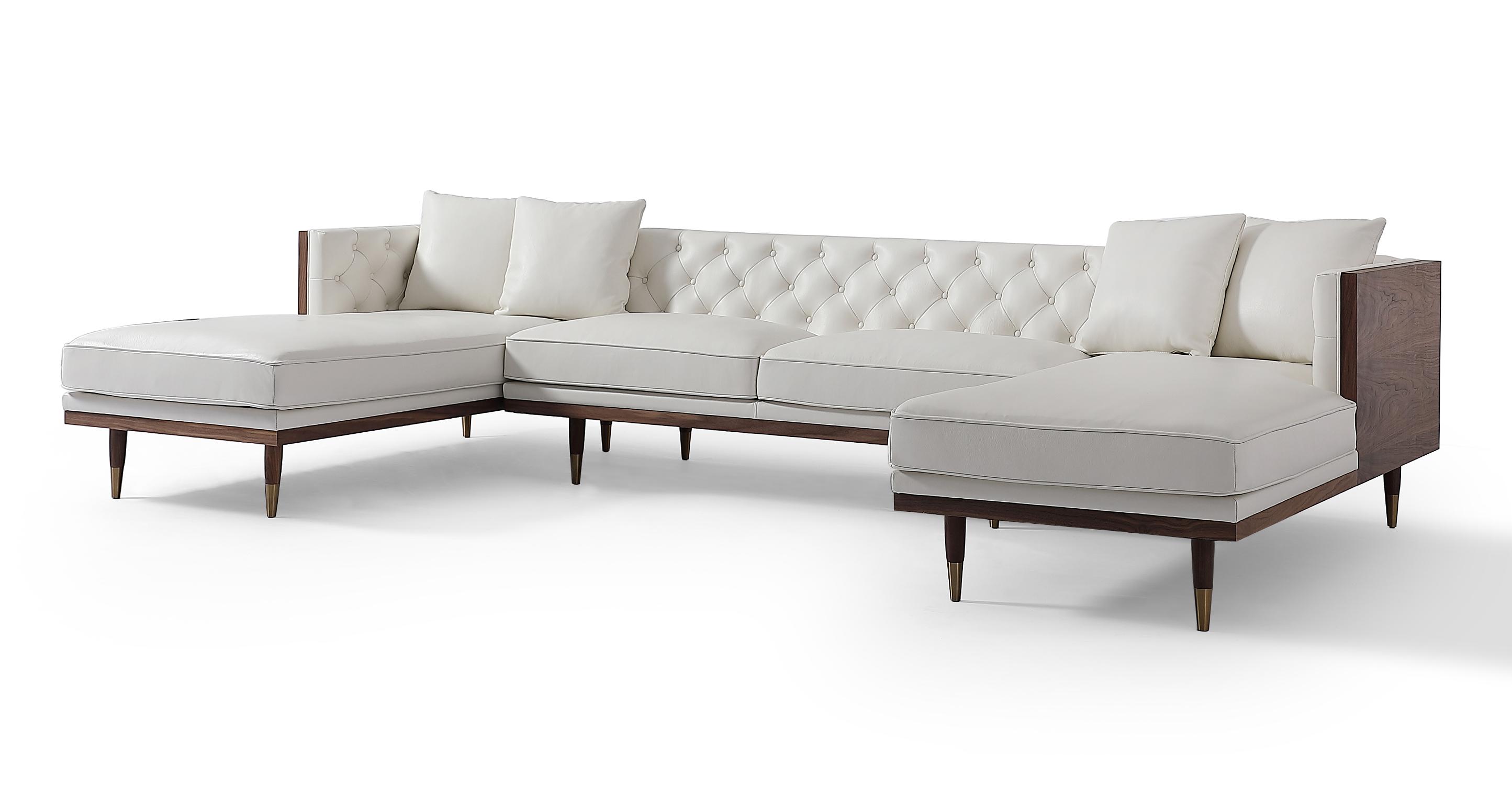 """Woodrow Neo 126"""" Leather Sofa U-Sectional, Walnut/White Aniline"""