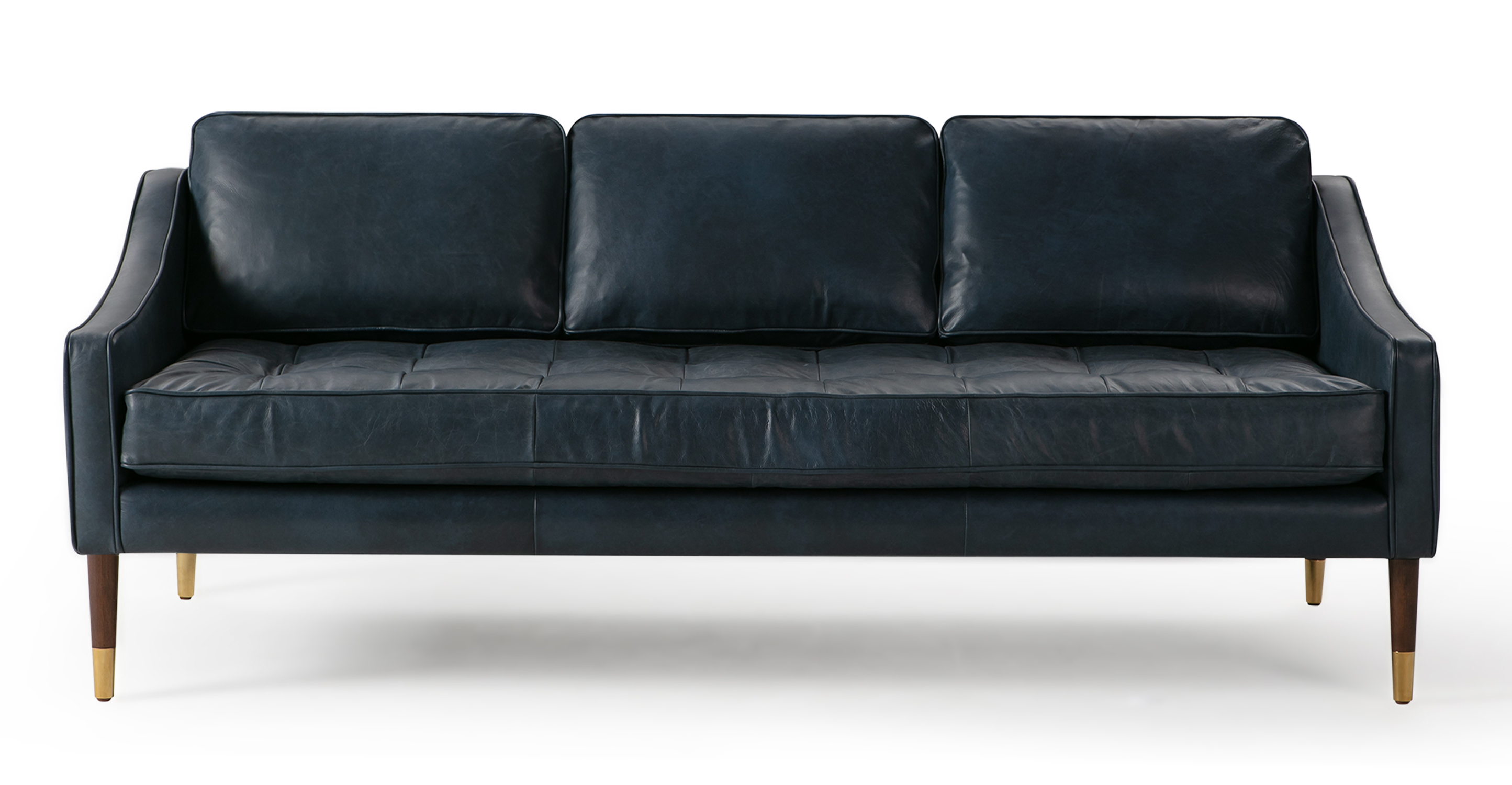 "Brando 74"" Leather Sofa, Napoli Blue"