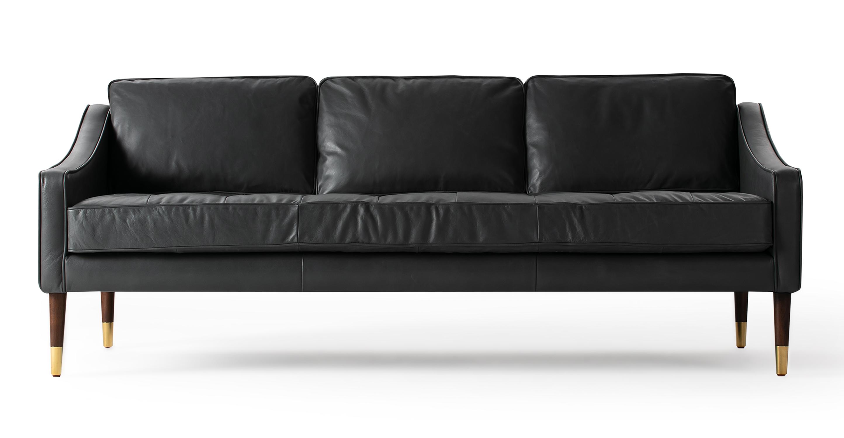"Brando 74"" Leather Sofa, Napoli Grey"