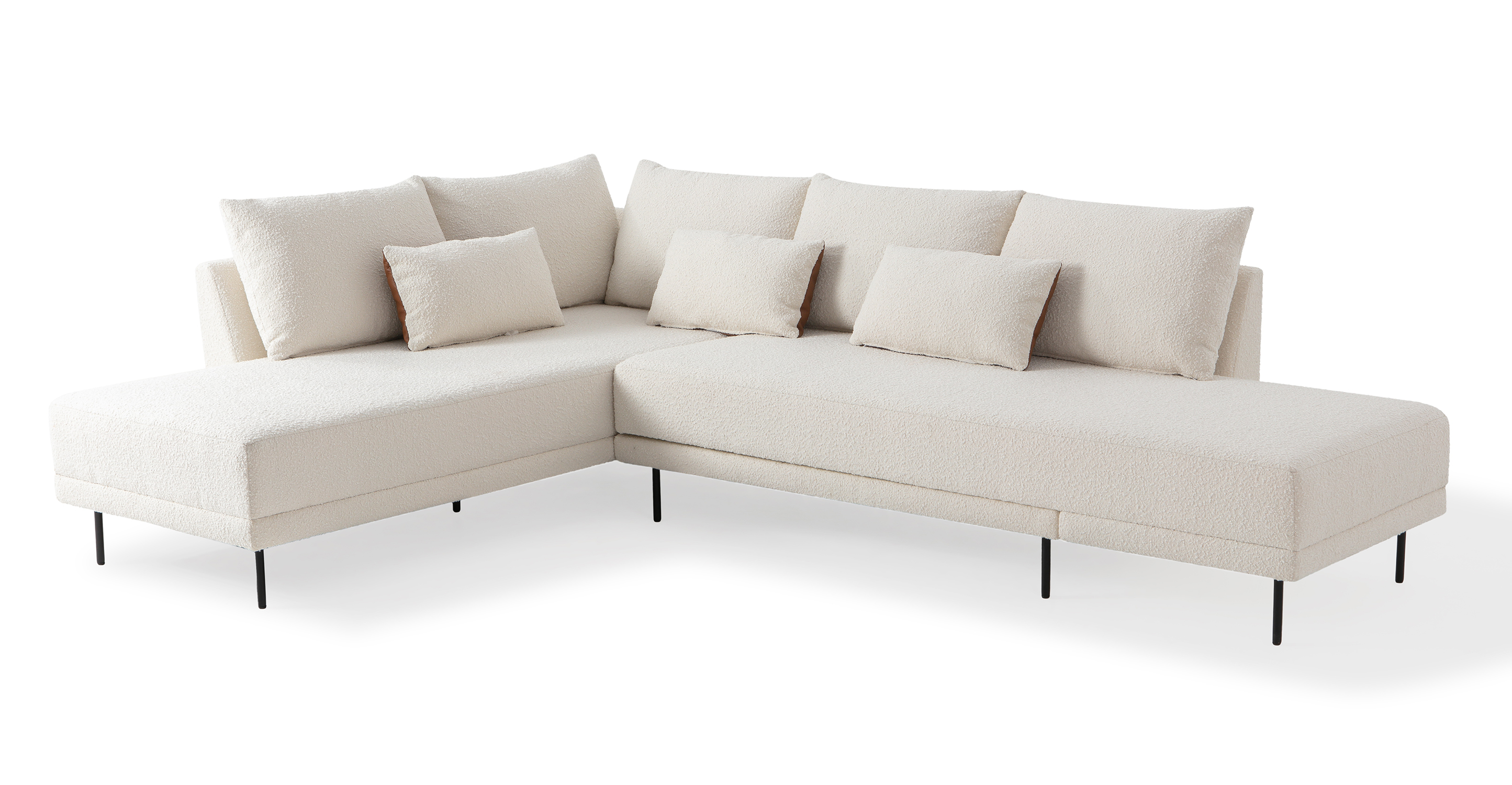 "Stash 117"" Fabric Sectional Sleeper, Blanc & Bronze"