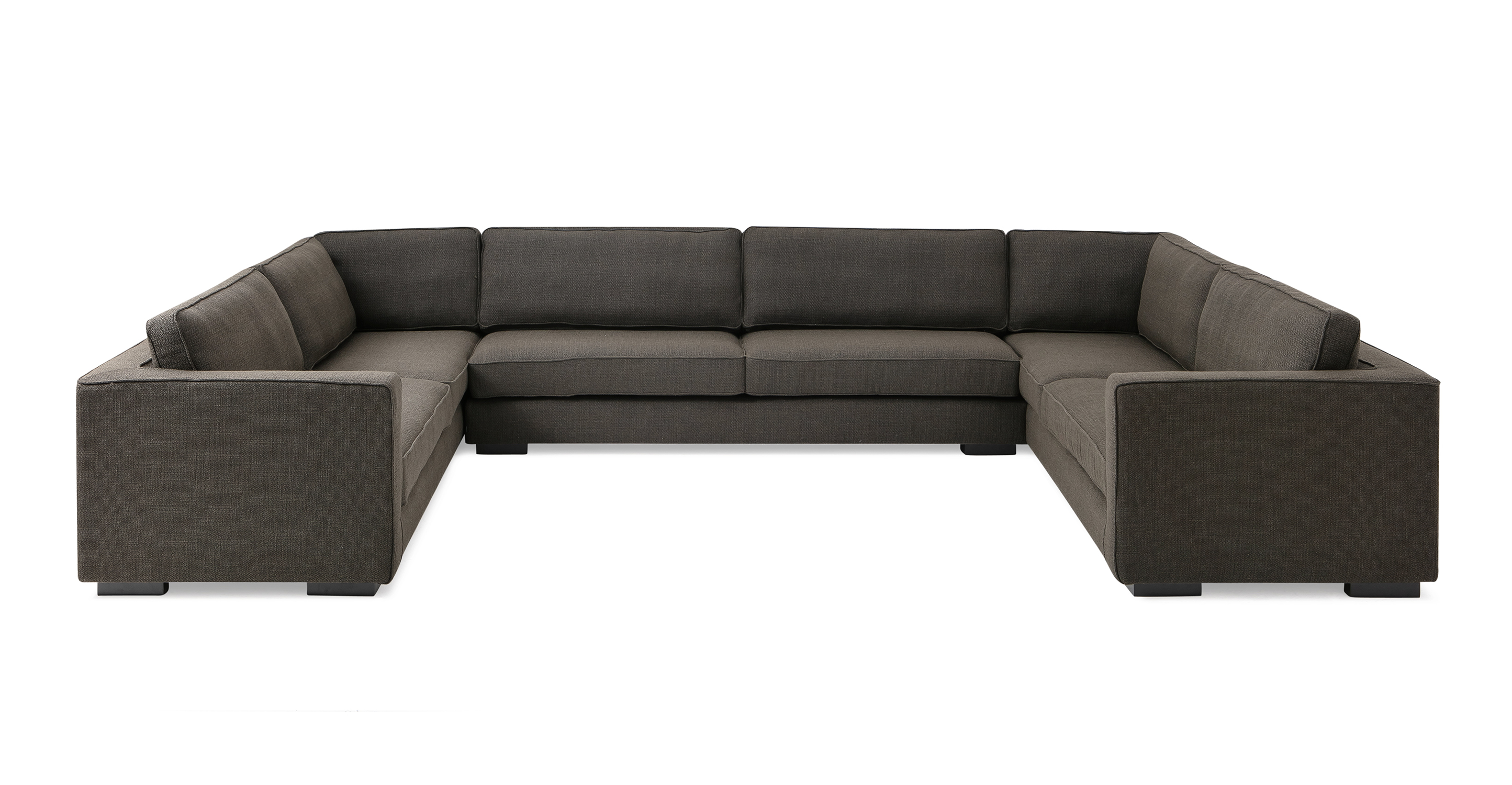 "Architect 156"" Fabric U-Sofa Sectional, Nuit Boucle"