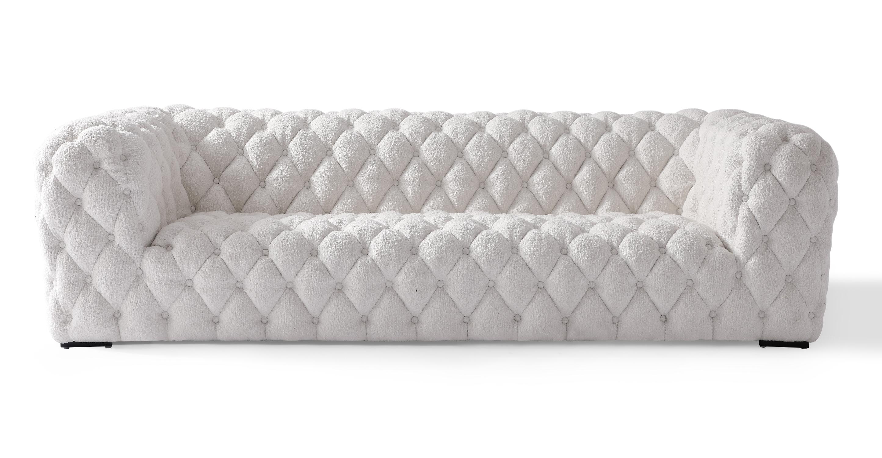 "Cumulus 98"" Fabric Sofa, Blanc Boucle"