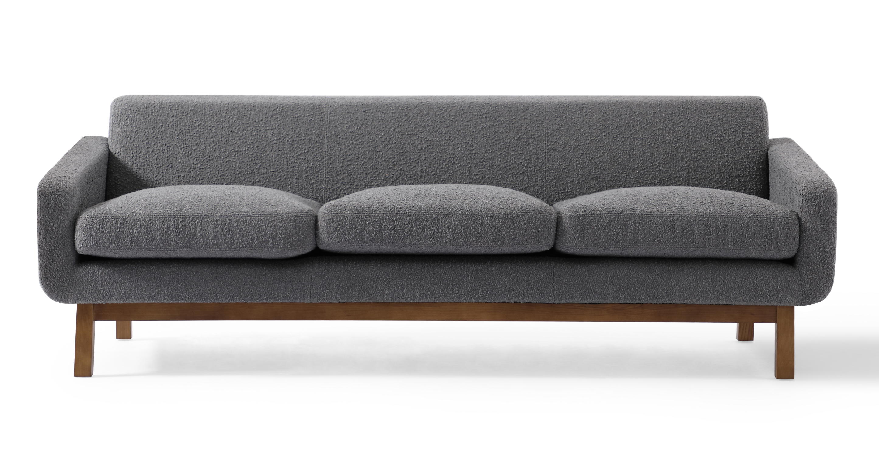 "Platform 80"" Fabric Sofa, Walnut/Gris Boucle"