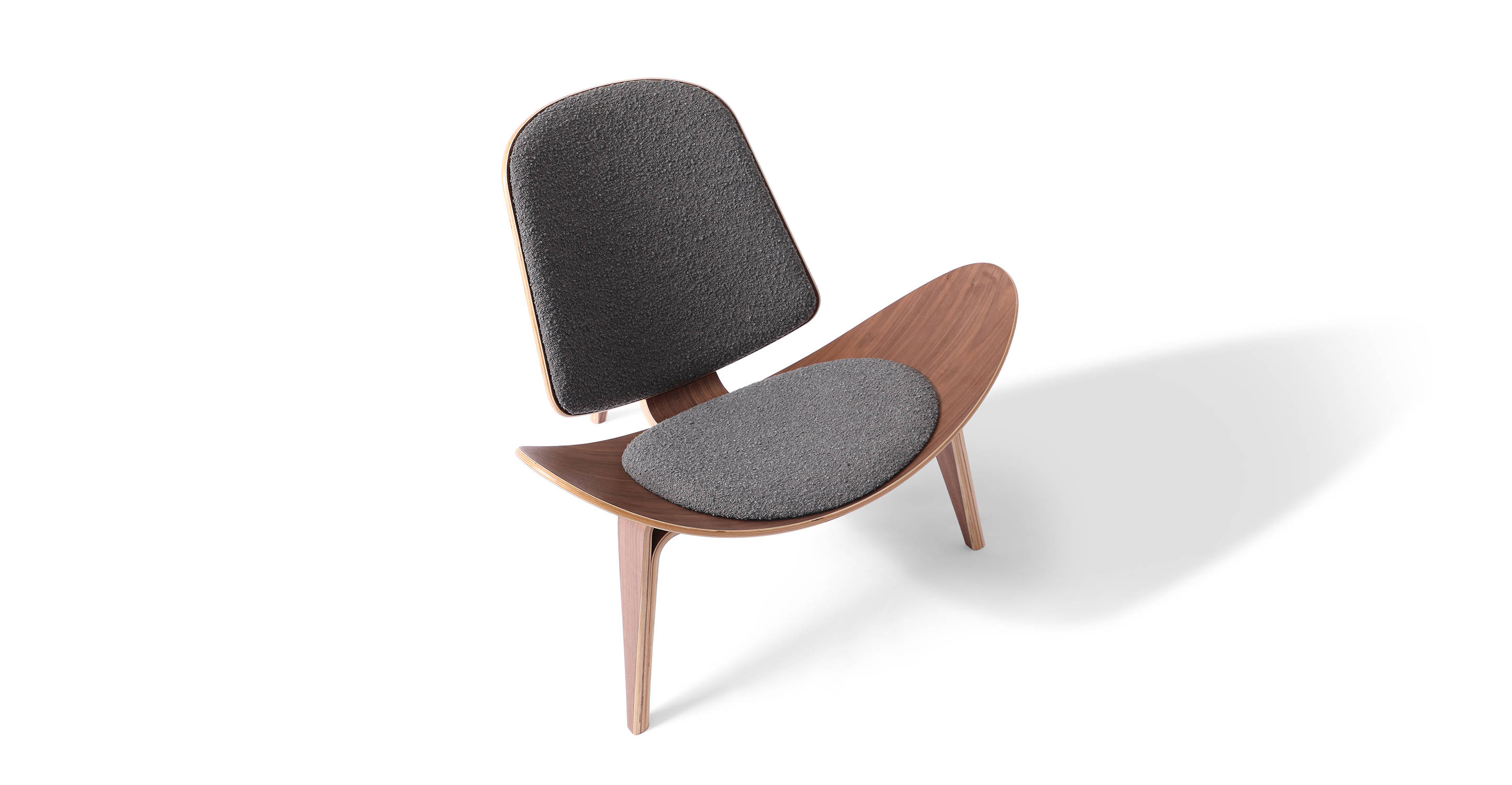"Tripod 36"" Fabric Chair, Gris Boucle"
