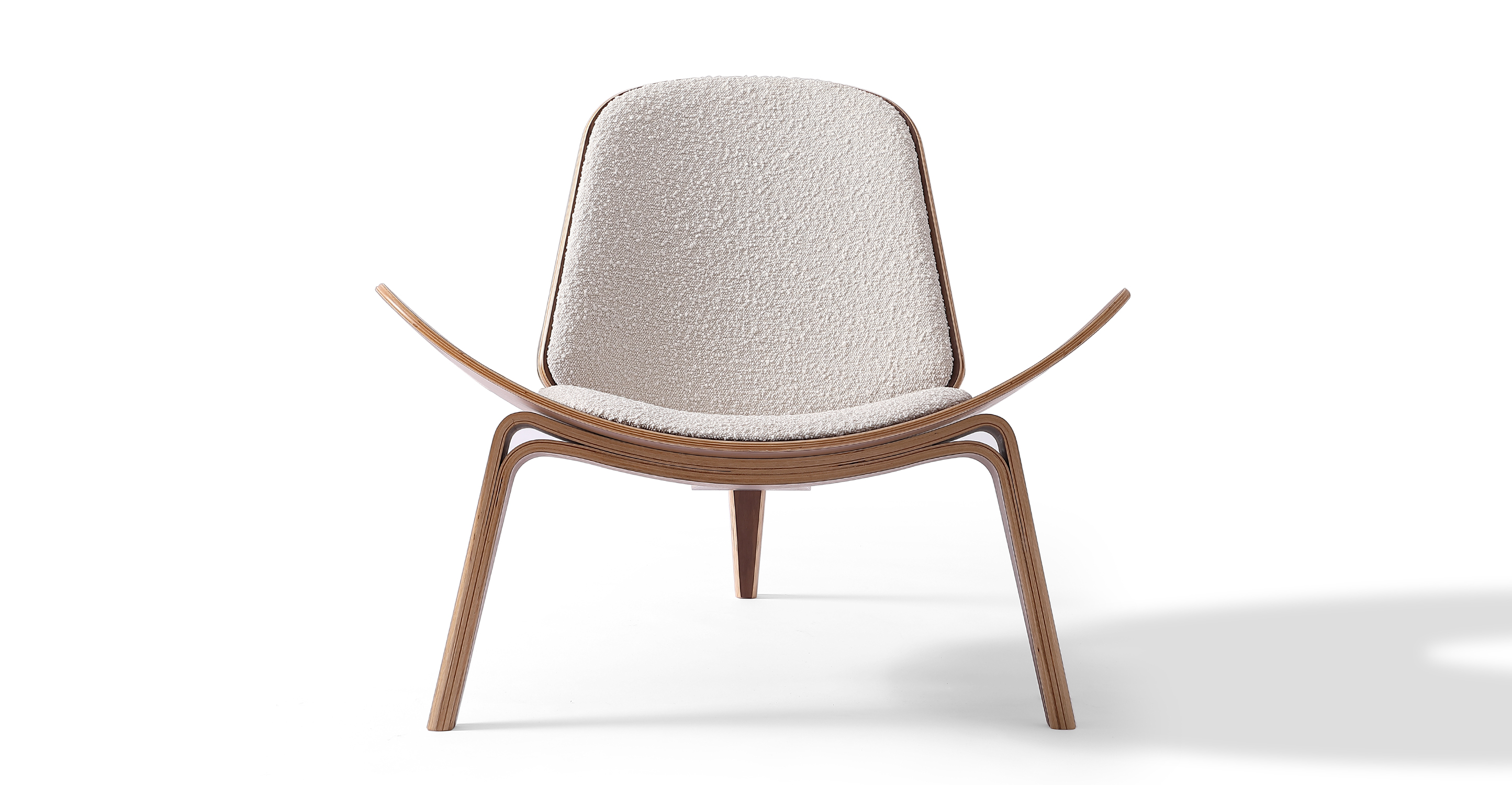 Tripod Fabric Chair 2-pc Set, Walnut/Blanc Boucle
