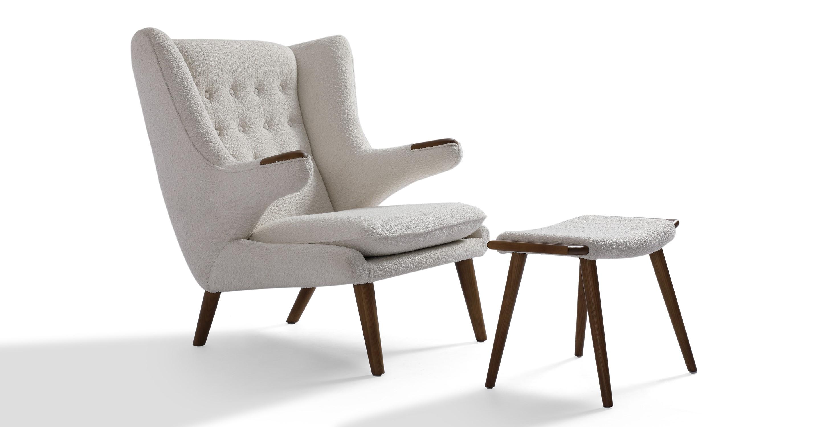 Papa Bear Chair & Ottoman, Blanc Boucle