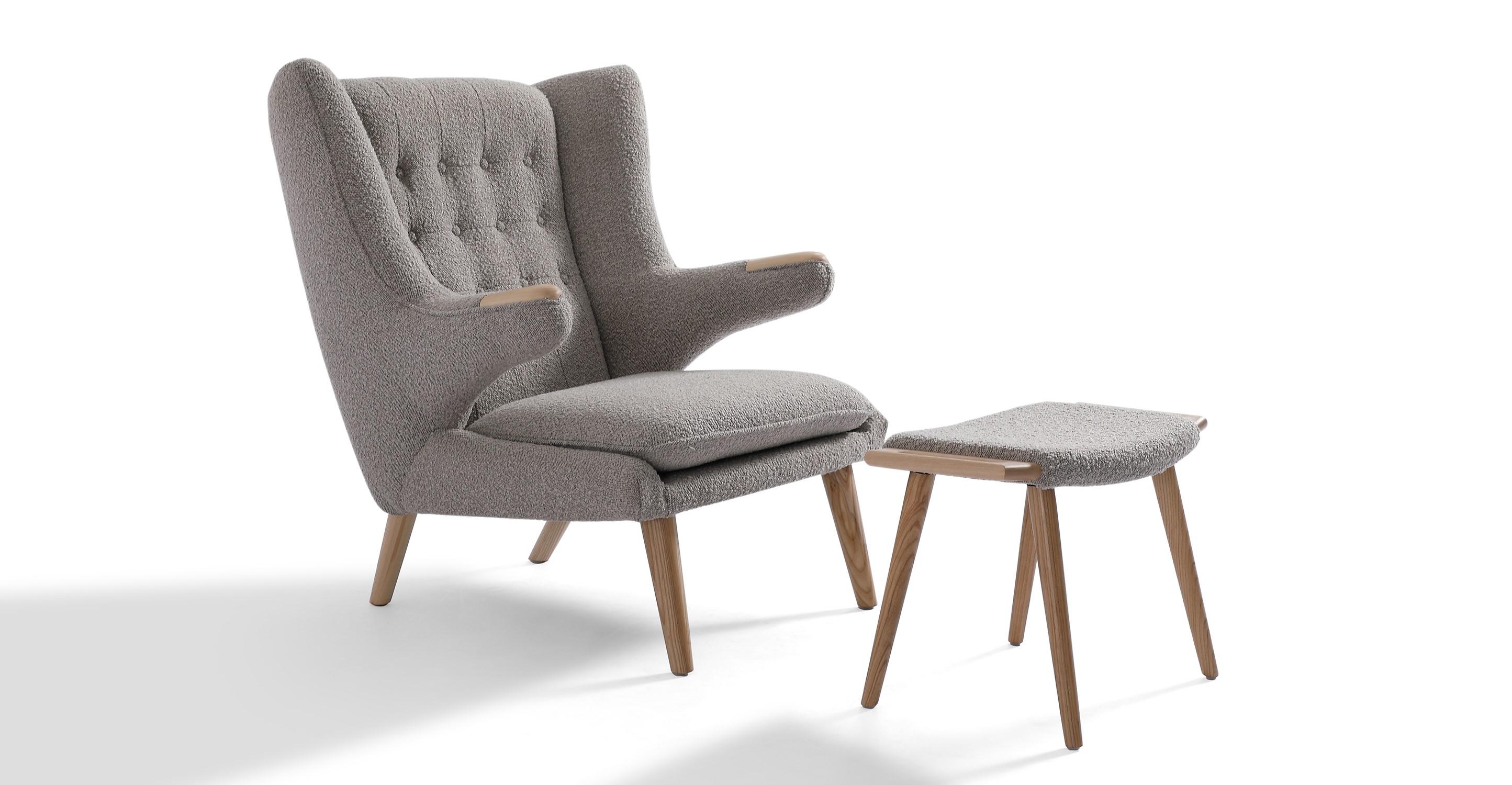 Papa Bear Chair & Ottoman, Bocce Boucle