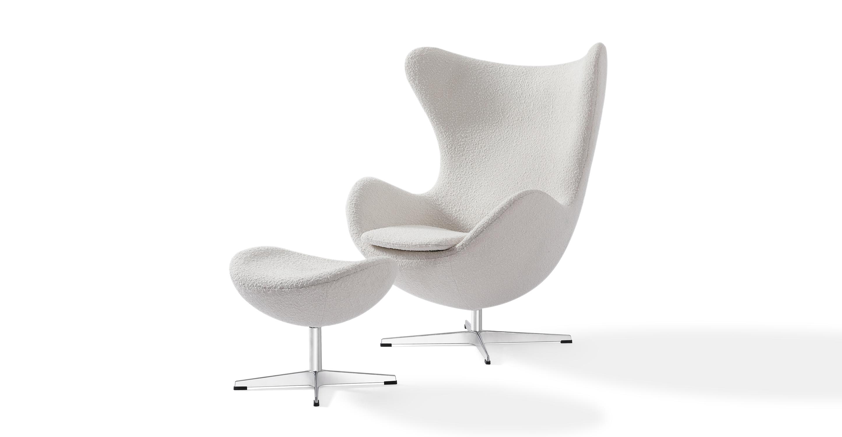 Amoeba Swivel Fabric Chair & Ottoman, Blanc Boucle