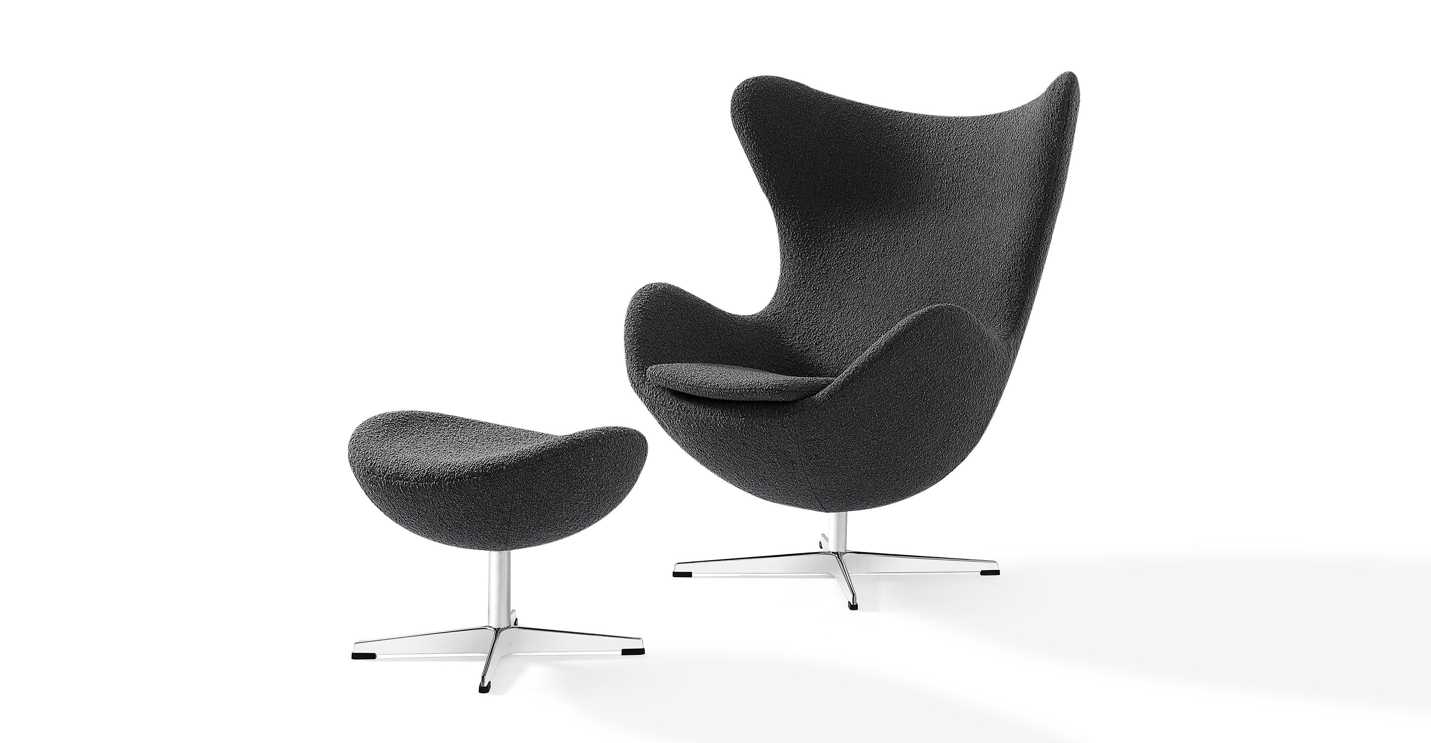 Amoeba Swivel Fabric Chair & Ottoman, Gris Boucle