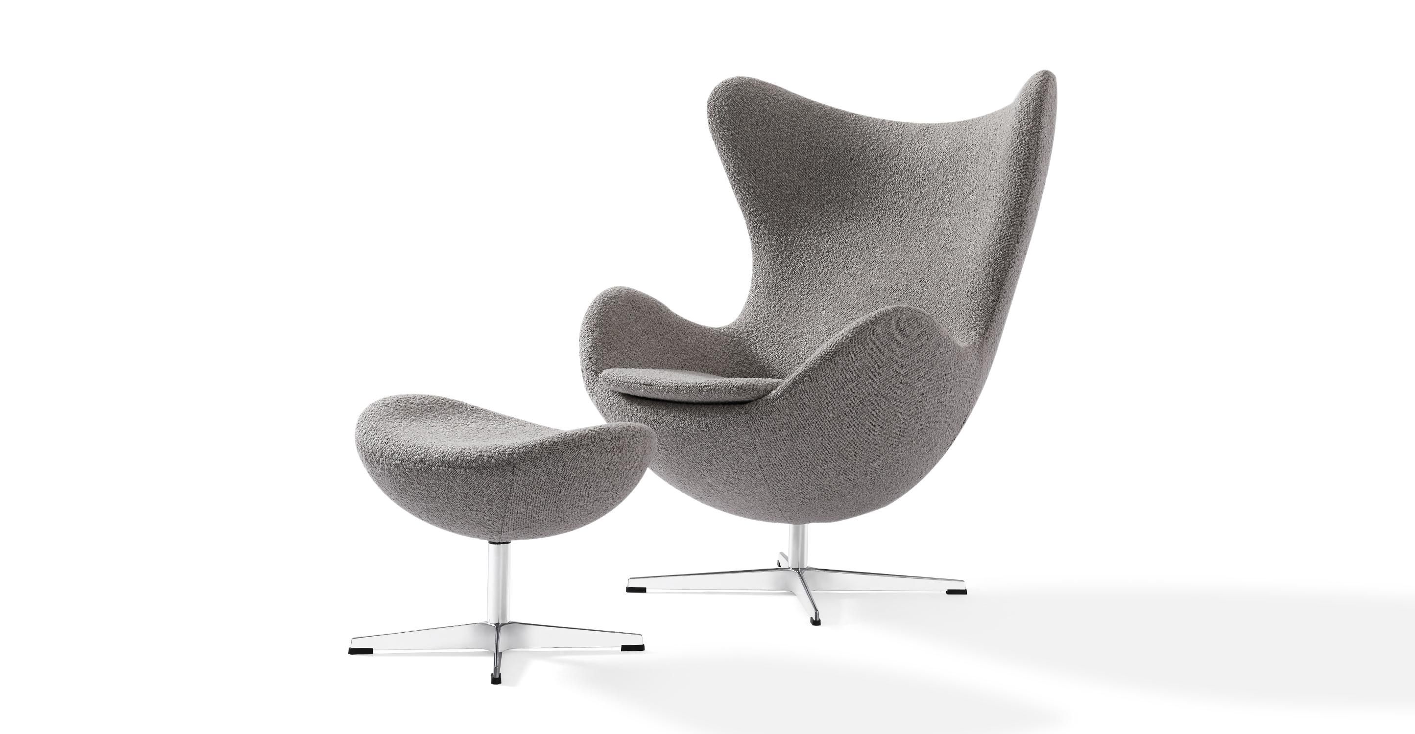 Amoeba Swivel Fabric Chair & Ottoman, Bocce Boucle