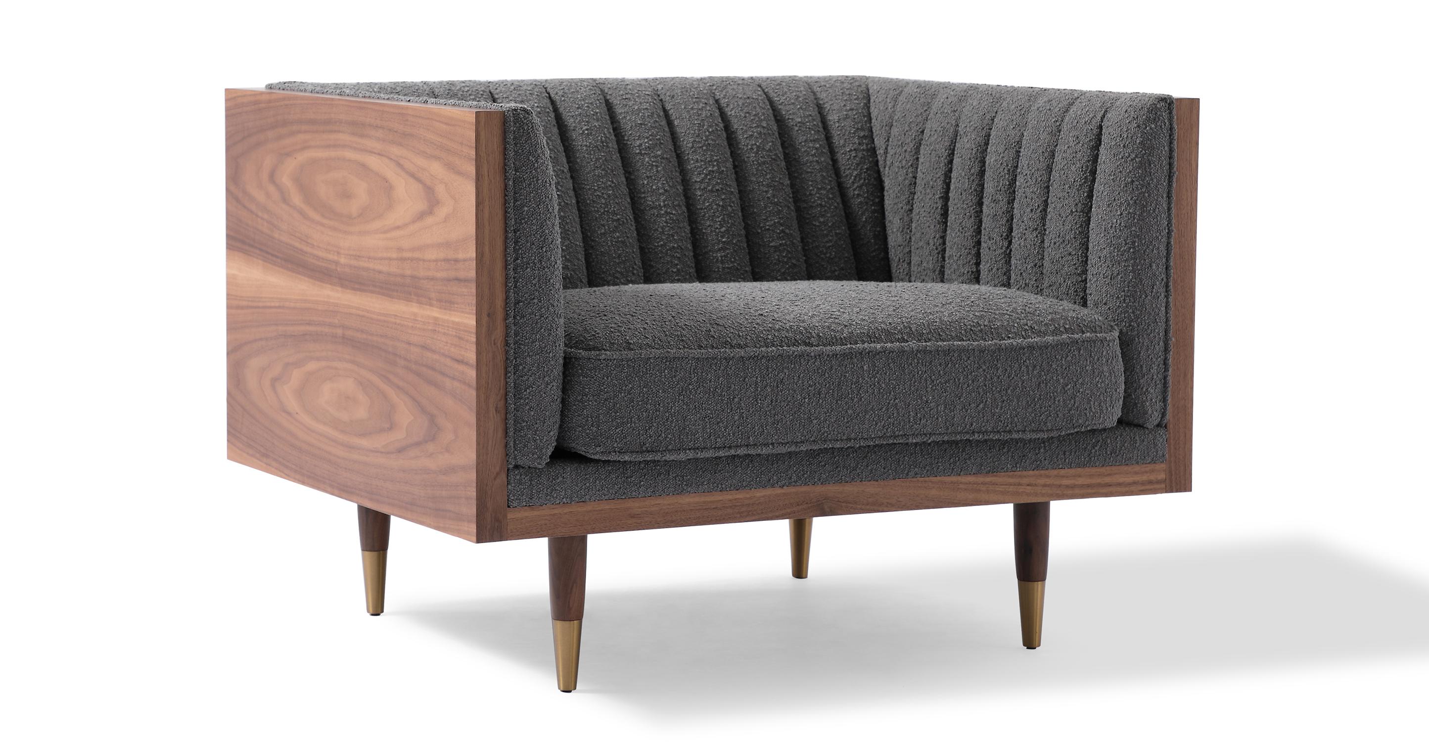 "Woodrow Linea 39"" Fabric Chair, Walnut/Gris Boucle"