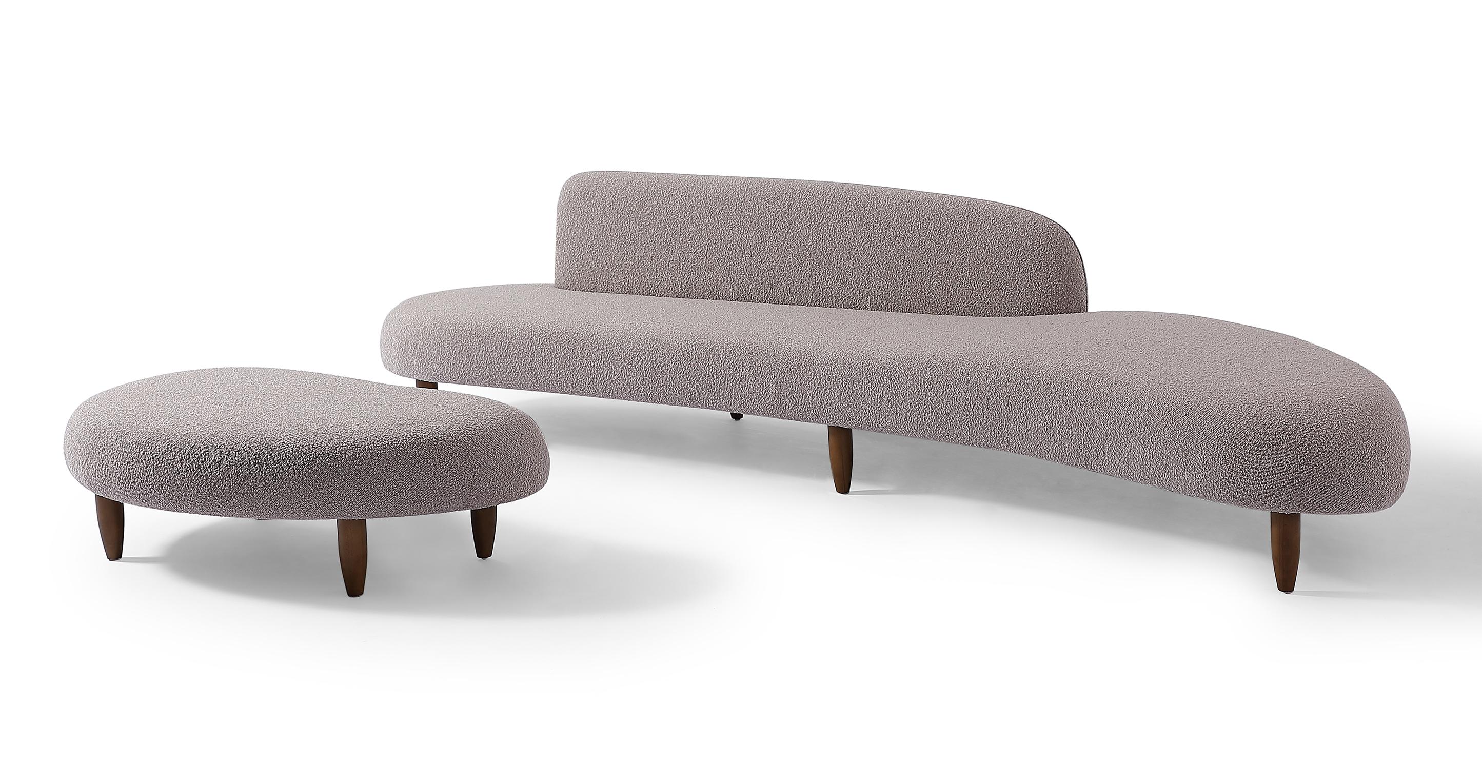 "Kidney Bean 118"" Fabric Sofa & Ottoman, Bocce Boucle"
