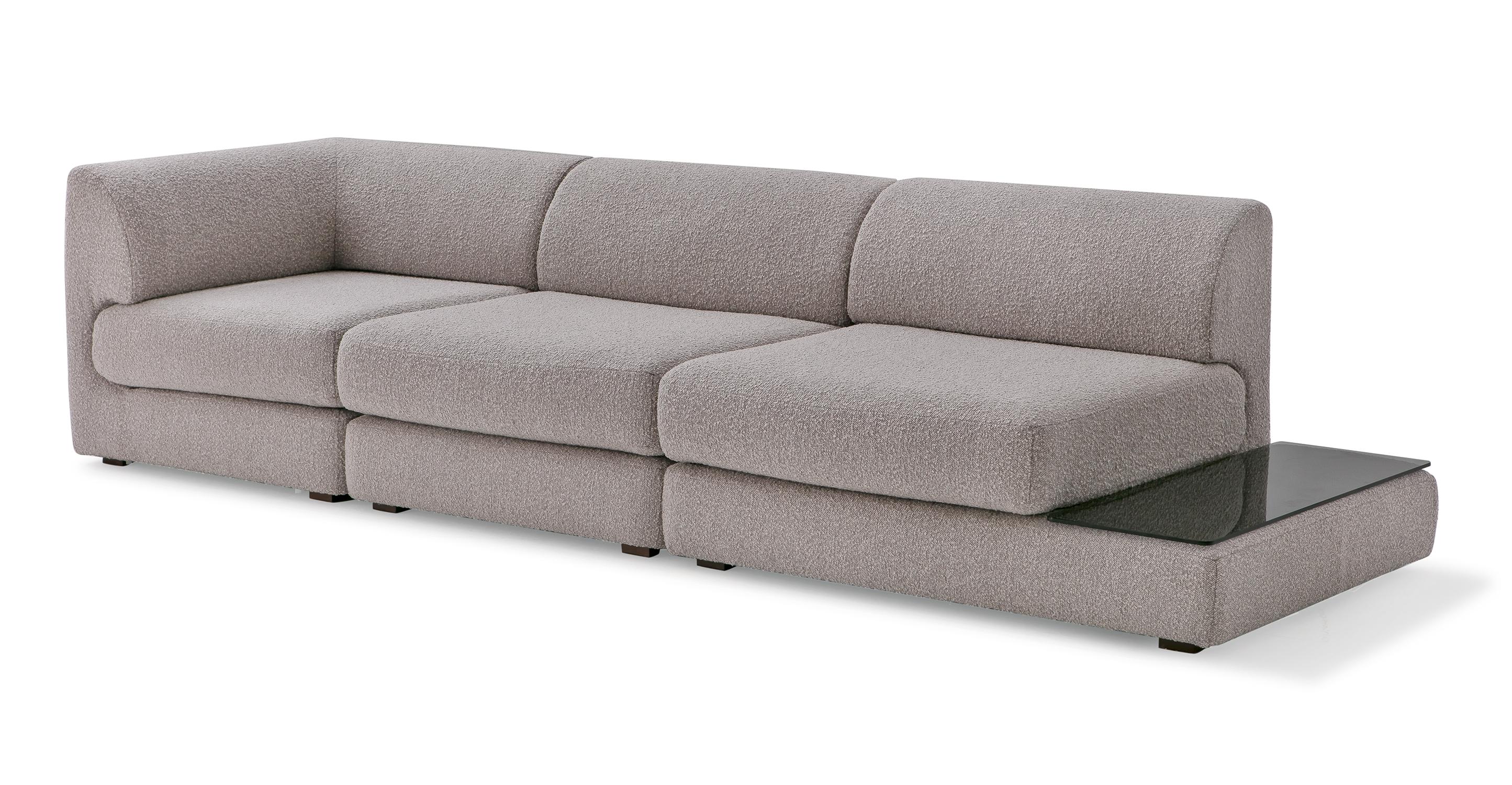 "Shelter Modular 121"" Gio 3-pc Left Arm Sofa, Bocce Boucle"