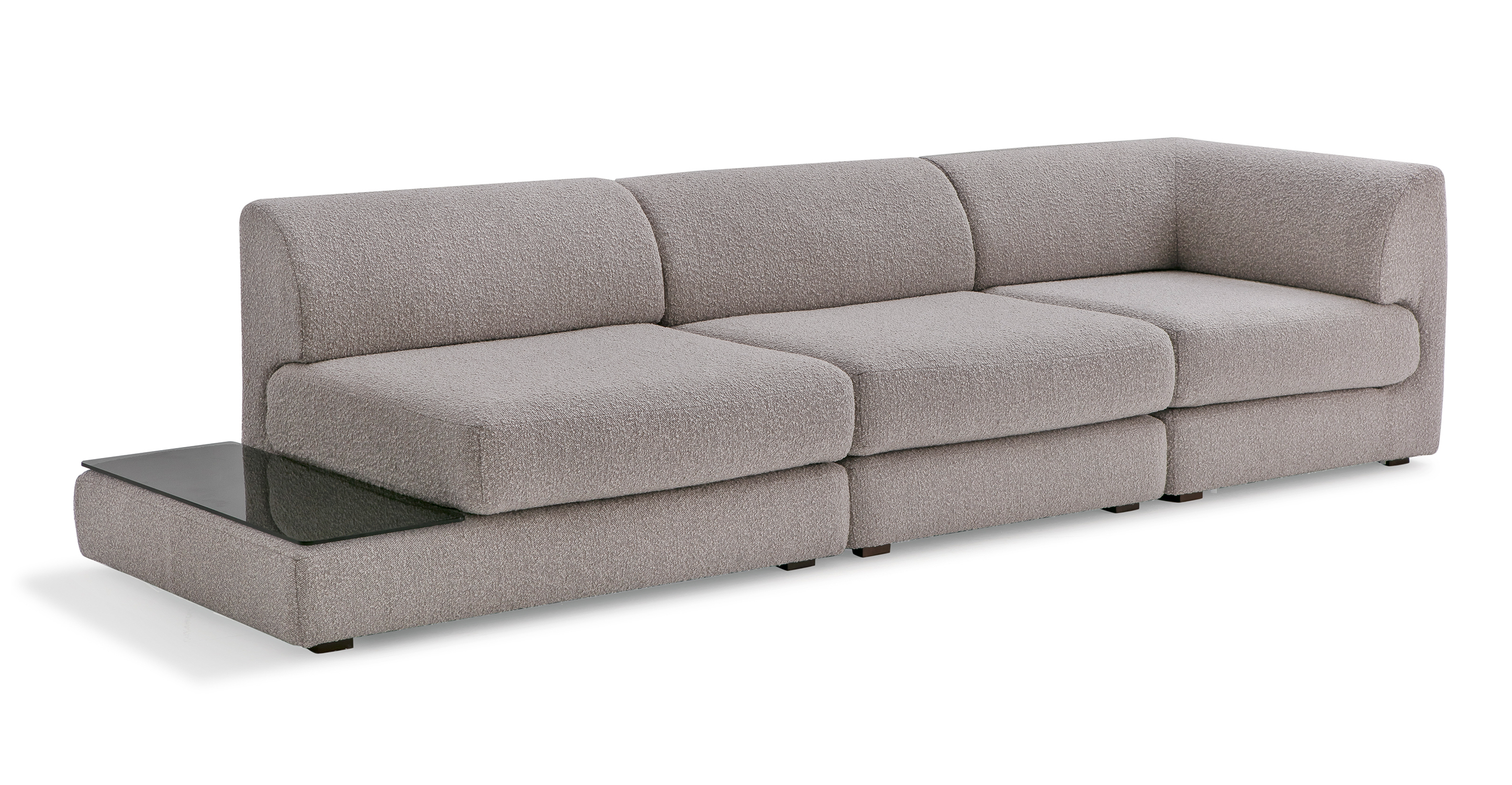 "Shelter Modular 121"" Gio 3-pc Right Arm Sofa, Bocce Boucle"