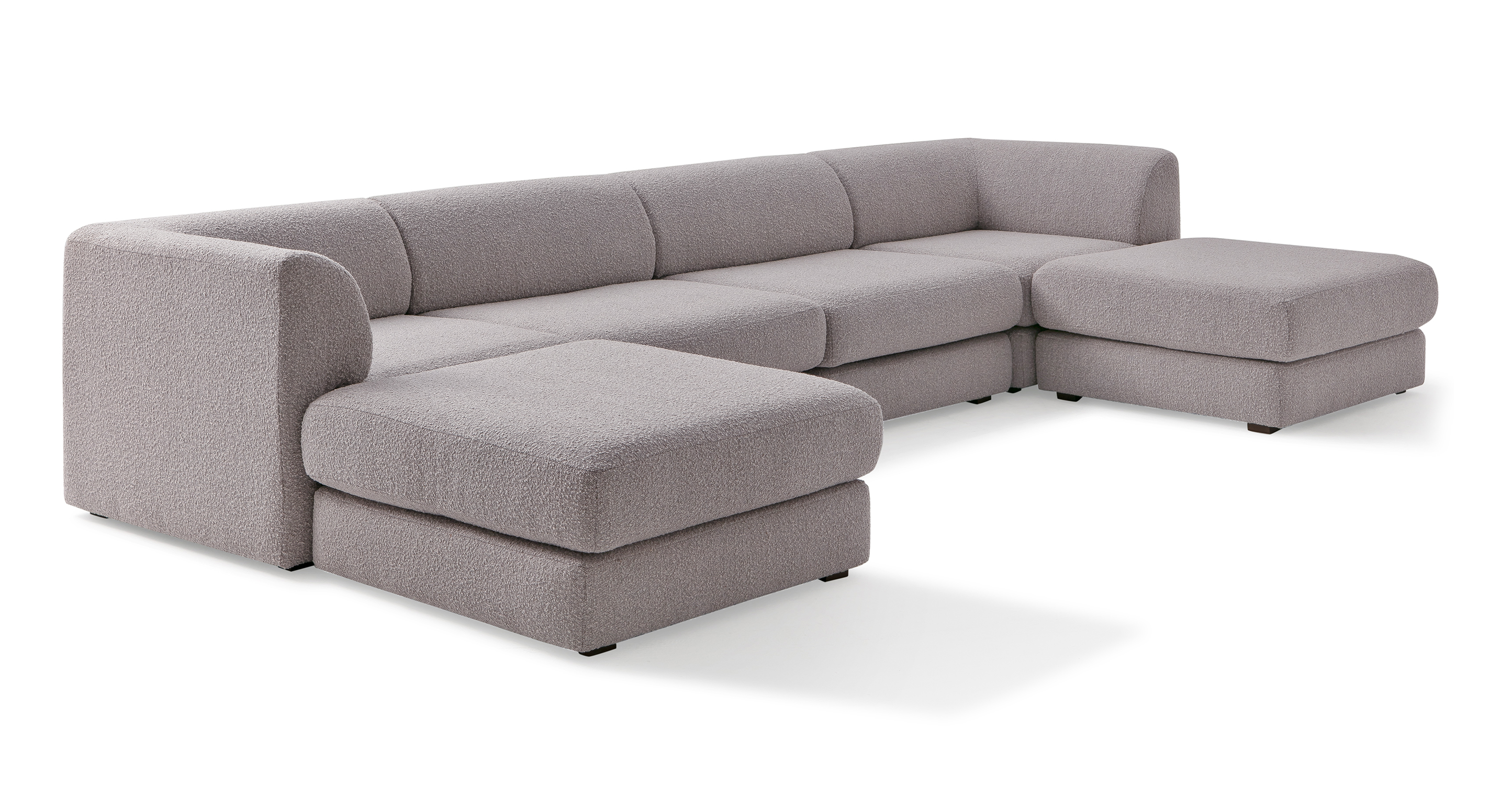 "Shelter Modular 144"" Micka 6-pc Sofa, Bocce Boucle"