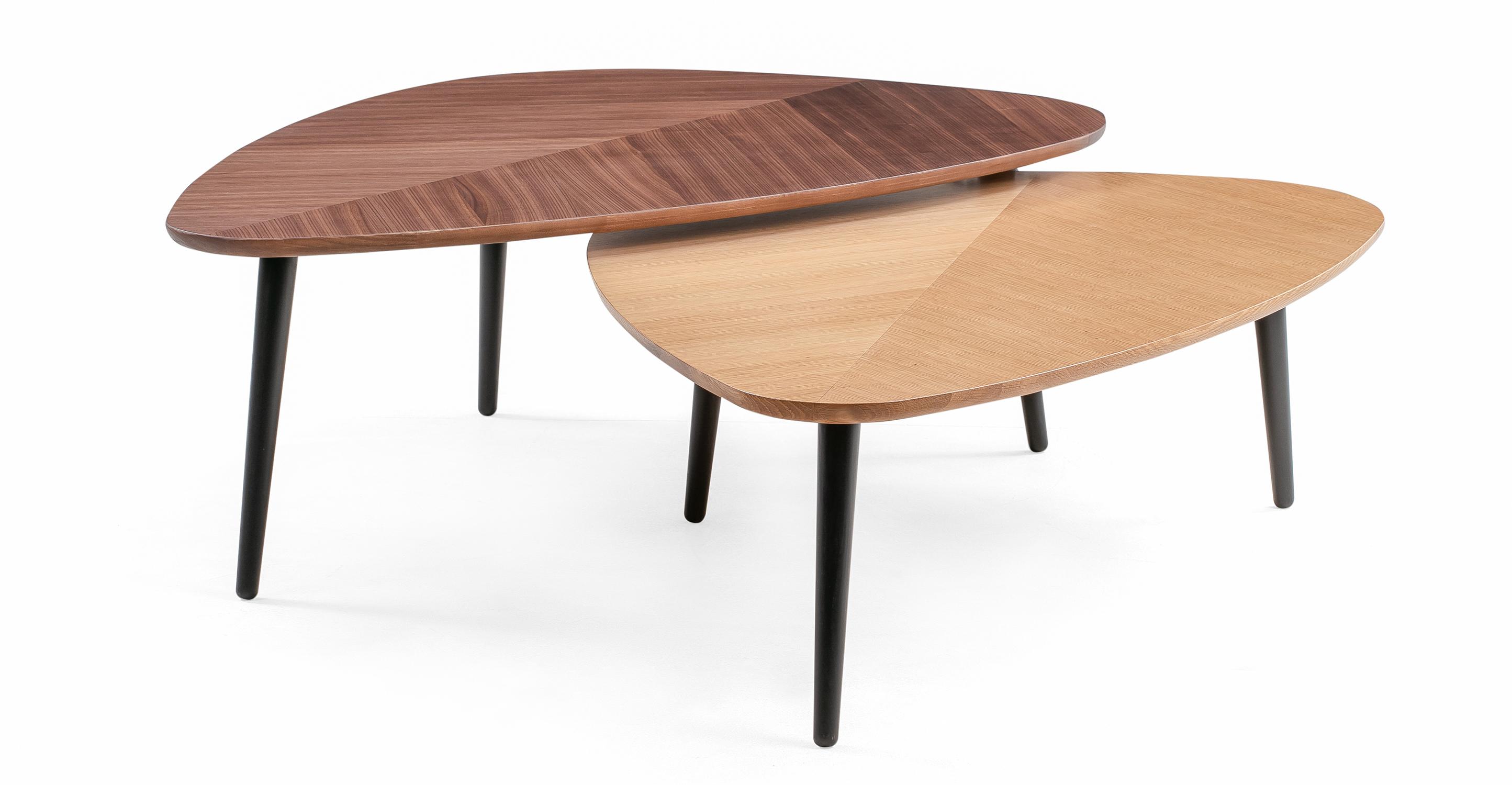 "Leaf 47"" Nesting Coffee Table 2-pc, Walnut & Oak"