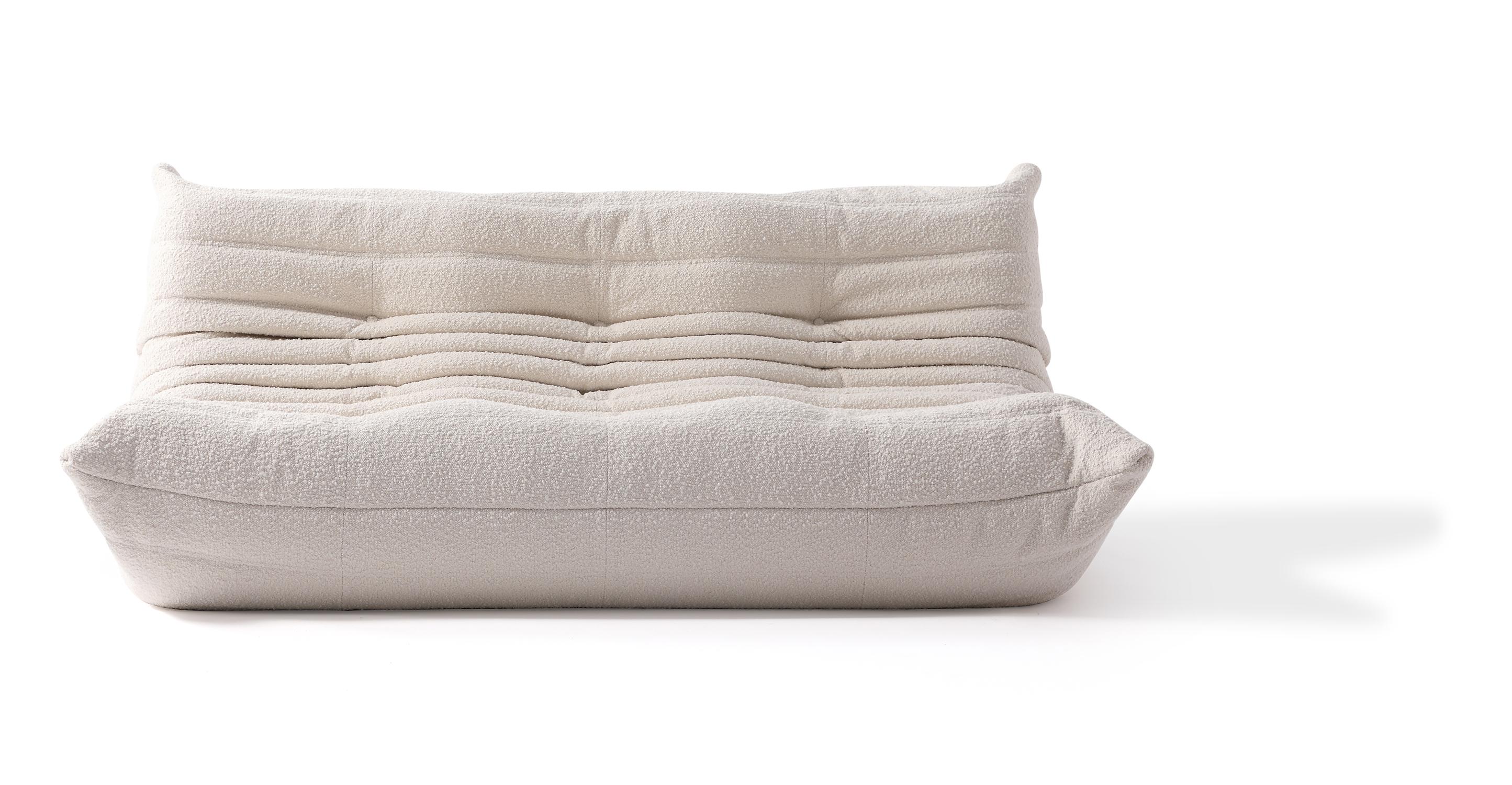 "Louvre 70"" Fabric 3-Seat Sofa, Blanc Boucle"
