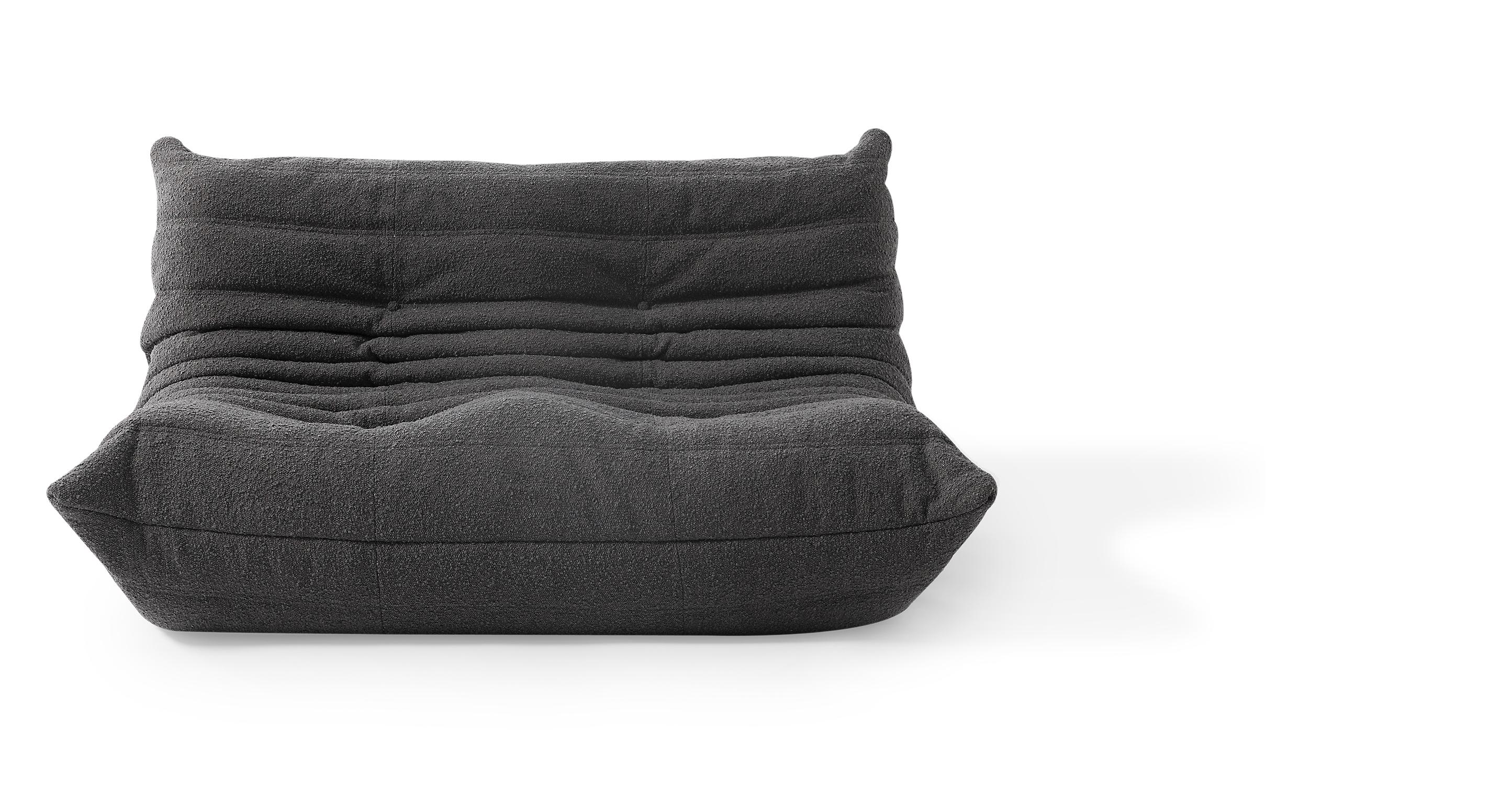 "Louvre 53"" Fabric 2-Seat Sofa, Gris Boucle"
