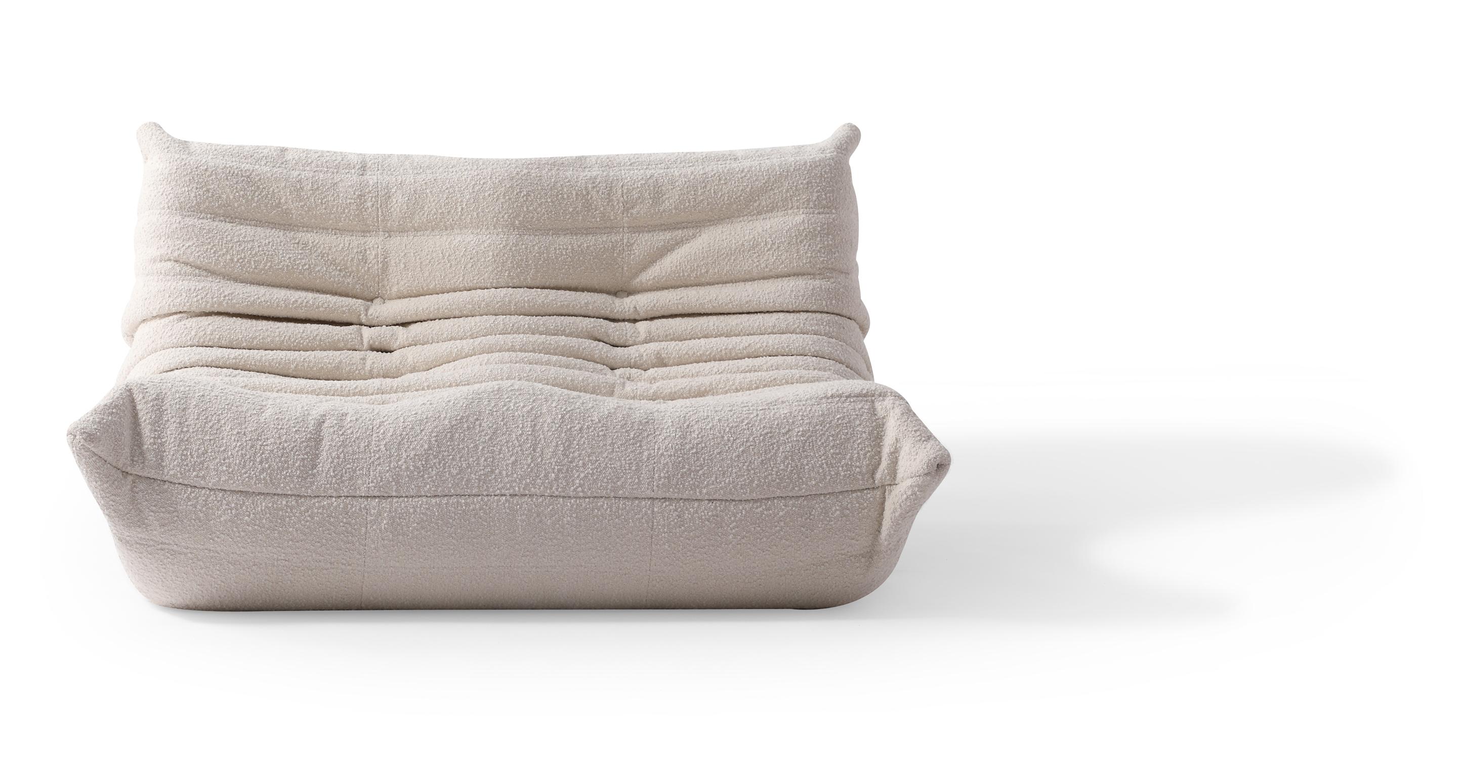 "Louvre 53"" Fabric 2-Seat Sofa, Blanc Boucle"