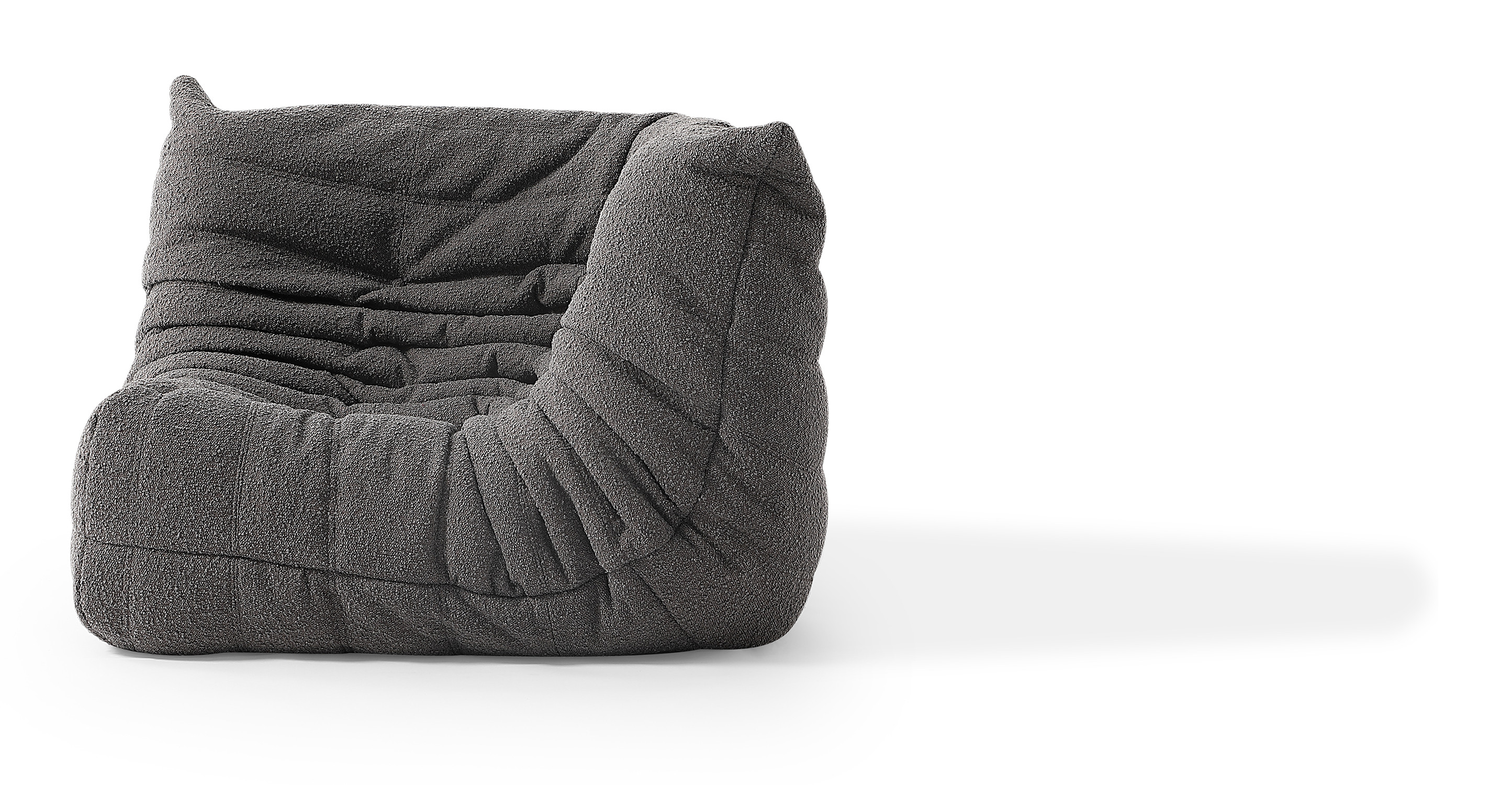 "Louvre 40"" Fabric Corner Chair, Gris Boucle"